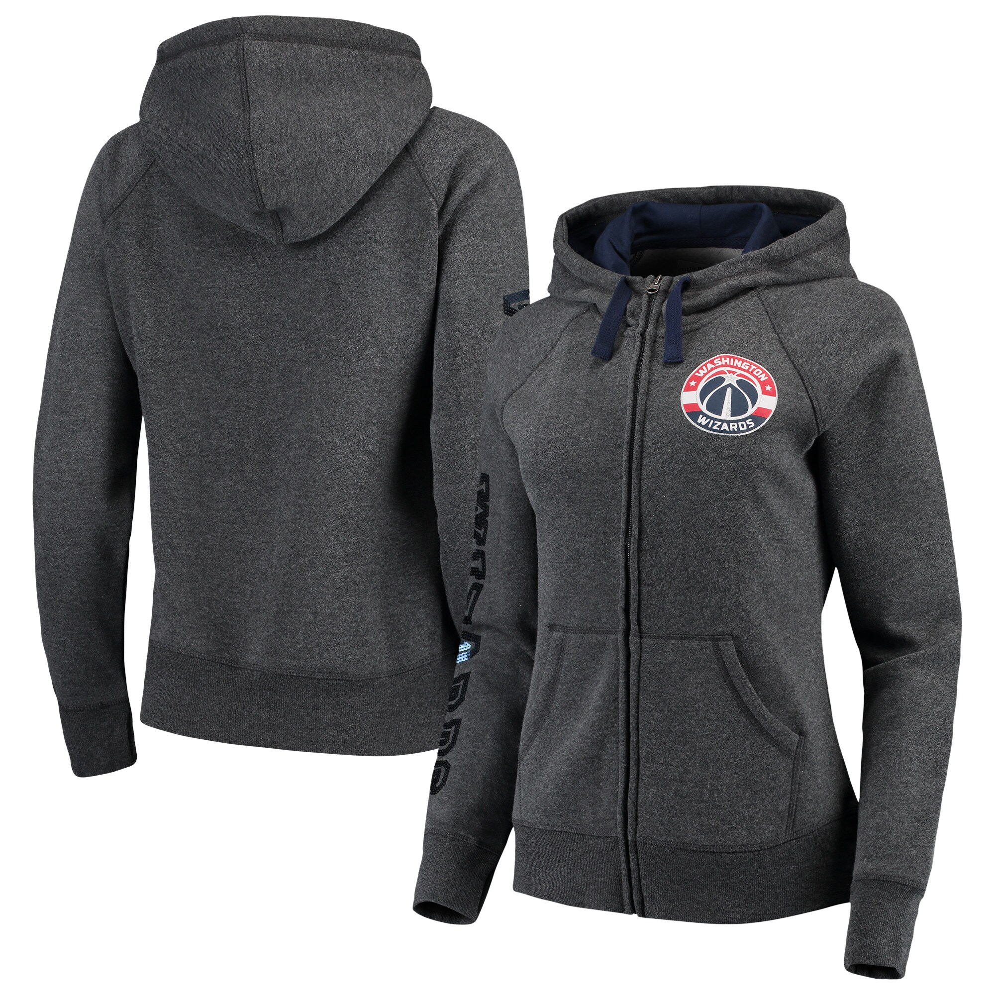 Washington Wizards G-III 4Her by Carl Banks Women's Playoff Suede Fleece Full-Zip Jacket - Charcoal/Navy