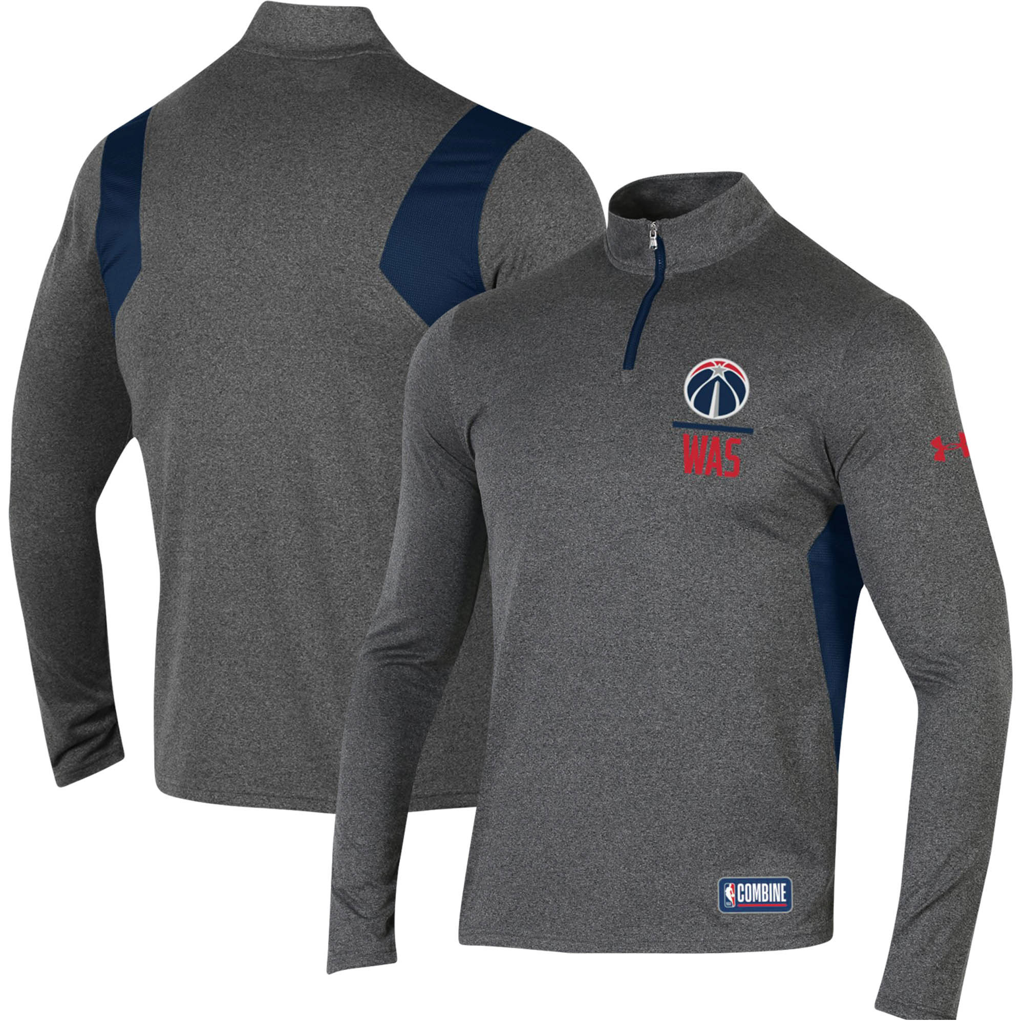 Washington Wizards Under Armour Combine Authentic Season Tech Quarter-Zip Pullover Jacket - Heathered Charcoal