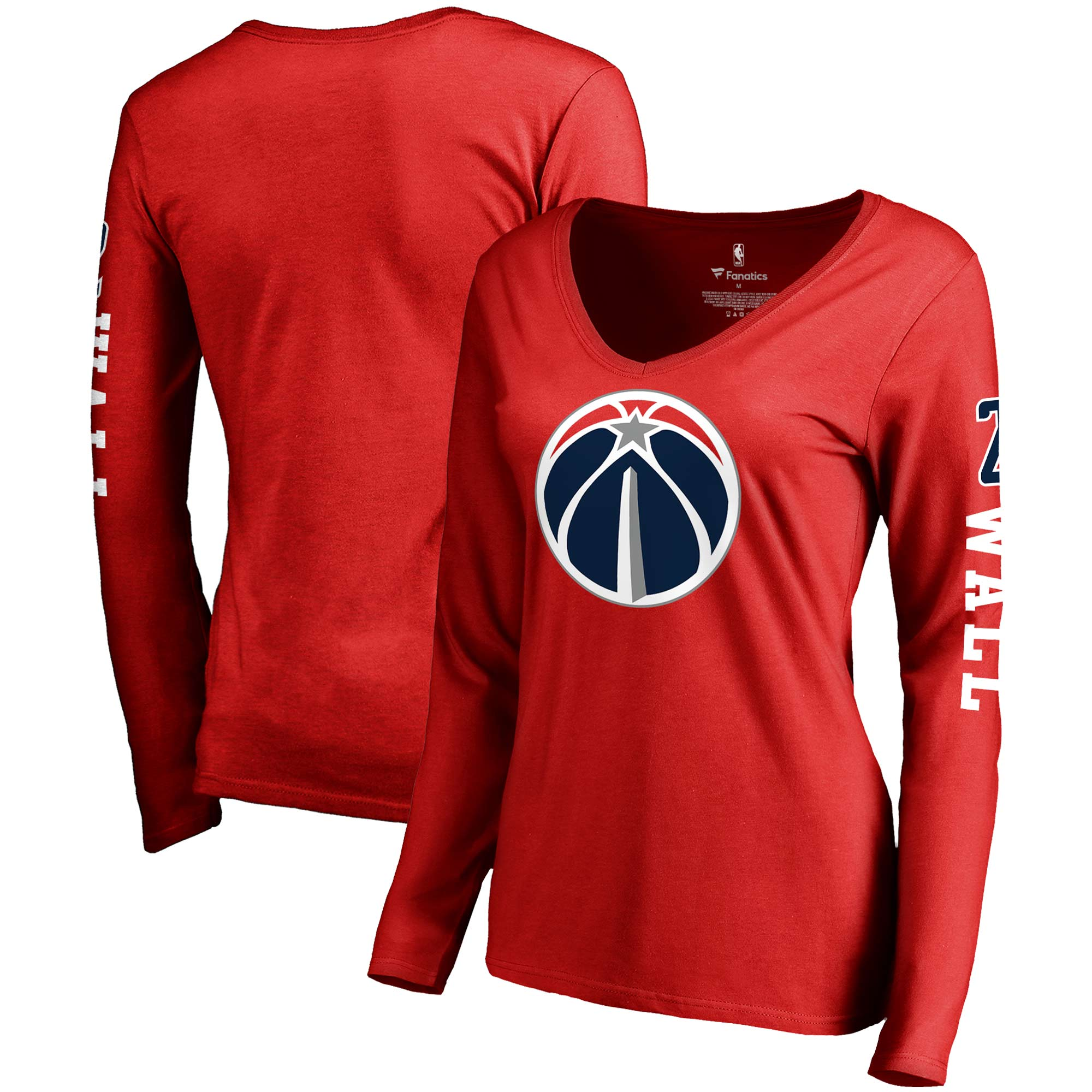 John Wall Washington Wizards Fanatics Branded Women's Team Idol Name & Number Long Sleeve V-Neck T-Shirt - Red