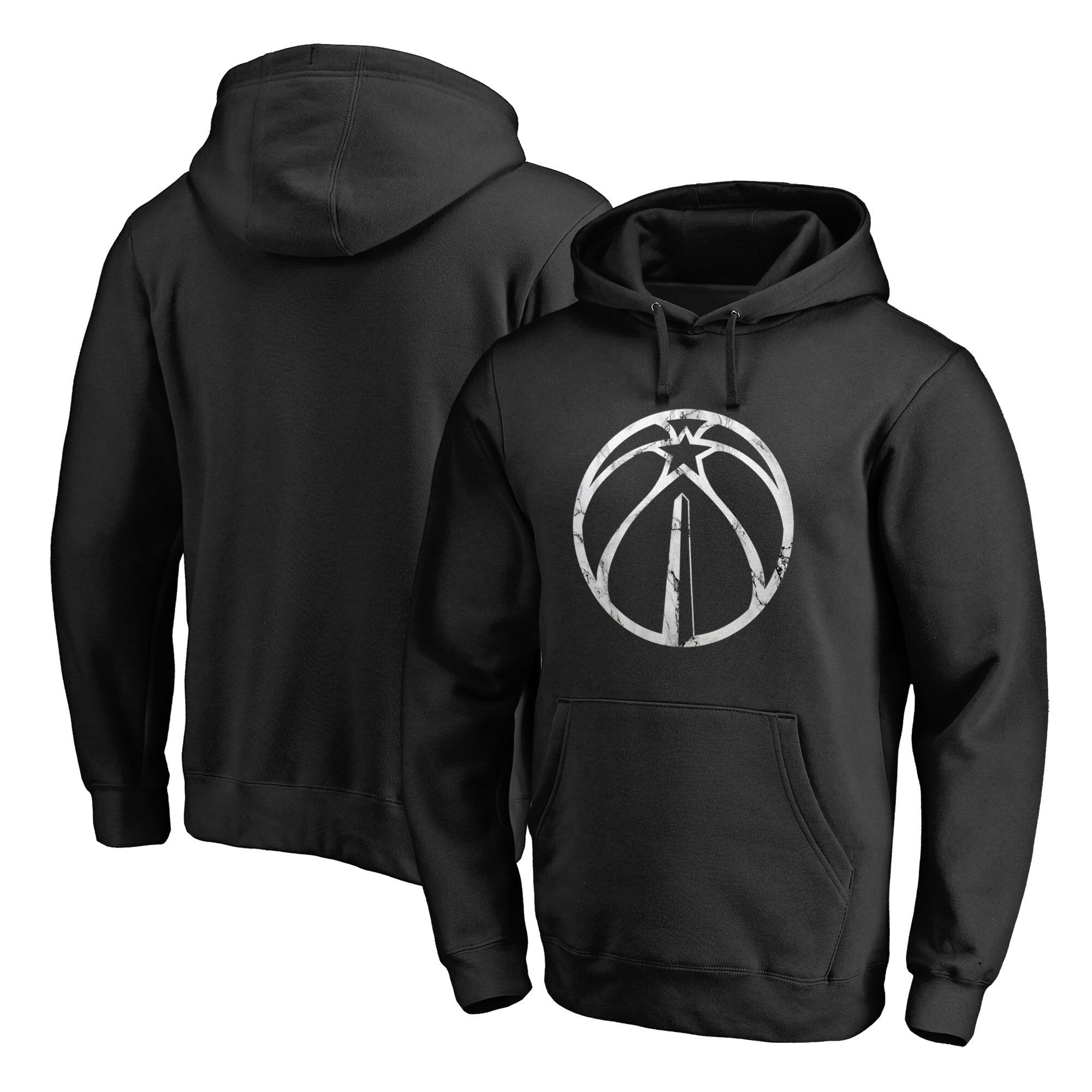 Washington Wizards Fanatics Branded Marble Logo Pullover Hoodie - Black