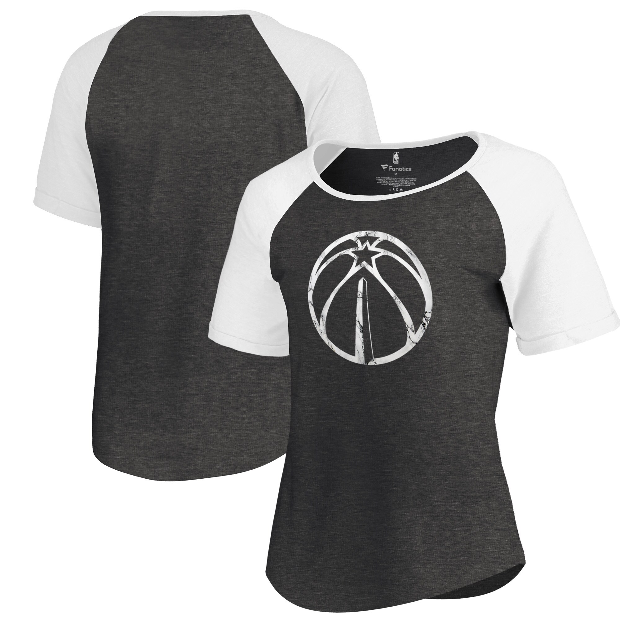 Washington Wizards Fanatics Branded Women's Marble Logo Raglan T-Shirt - Black