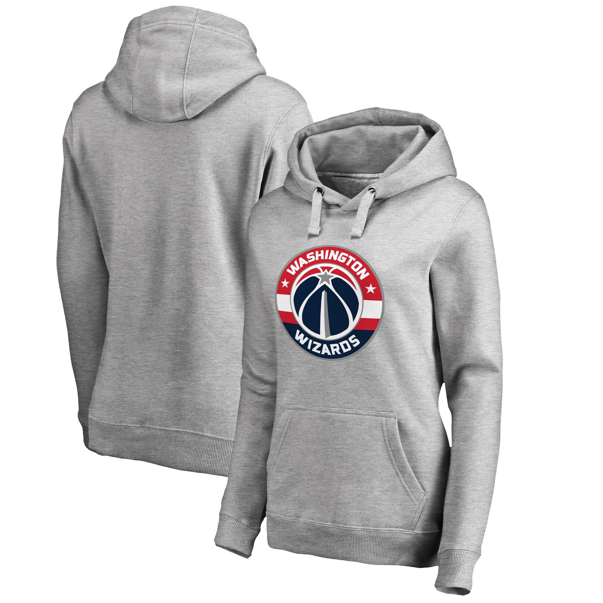 Washington Wizards Fanatics Branded Women's Primary Logo Pullover Hoodie - Ash