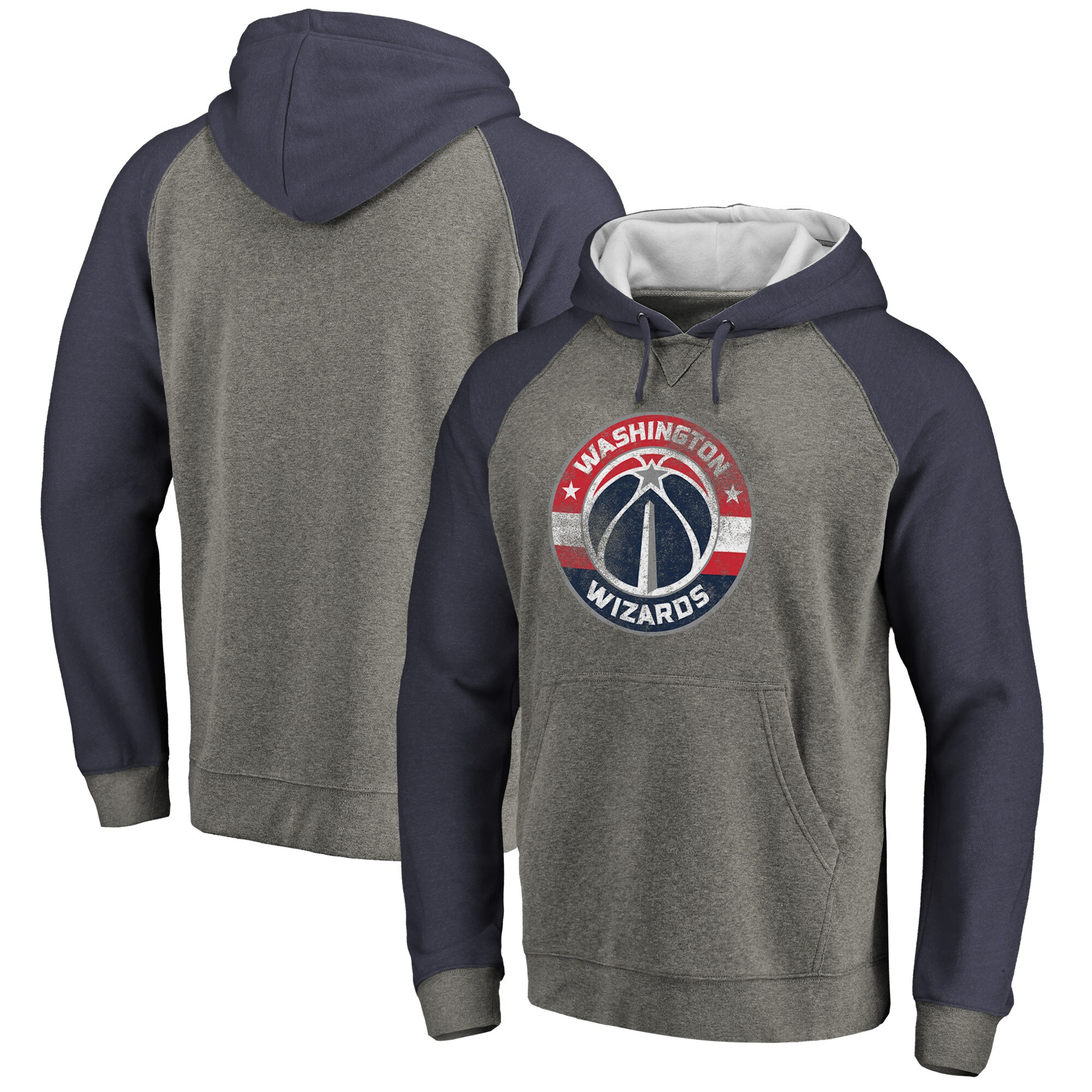 Washington Wizards Fanatics Branded Distressed Logo Tri-Blend Pullover Hoodie - Ash/Navy