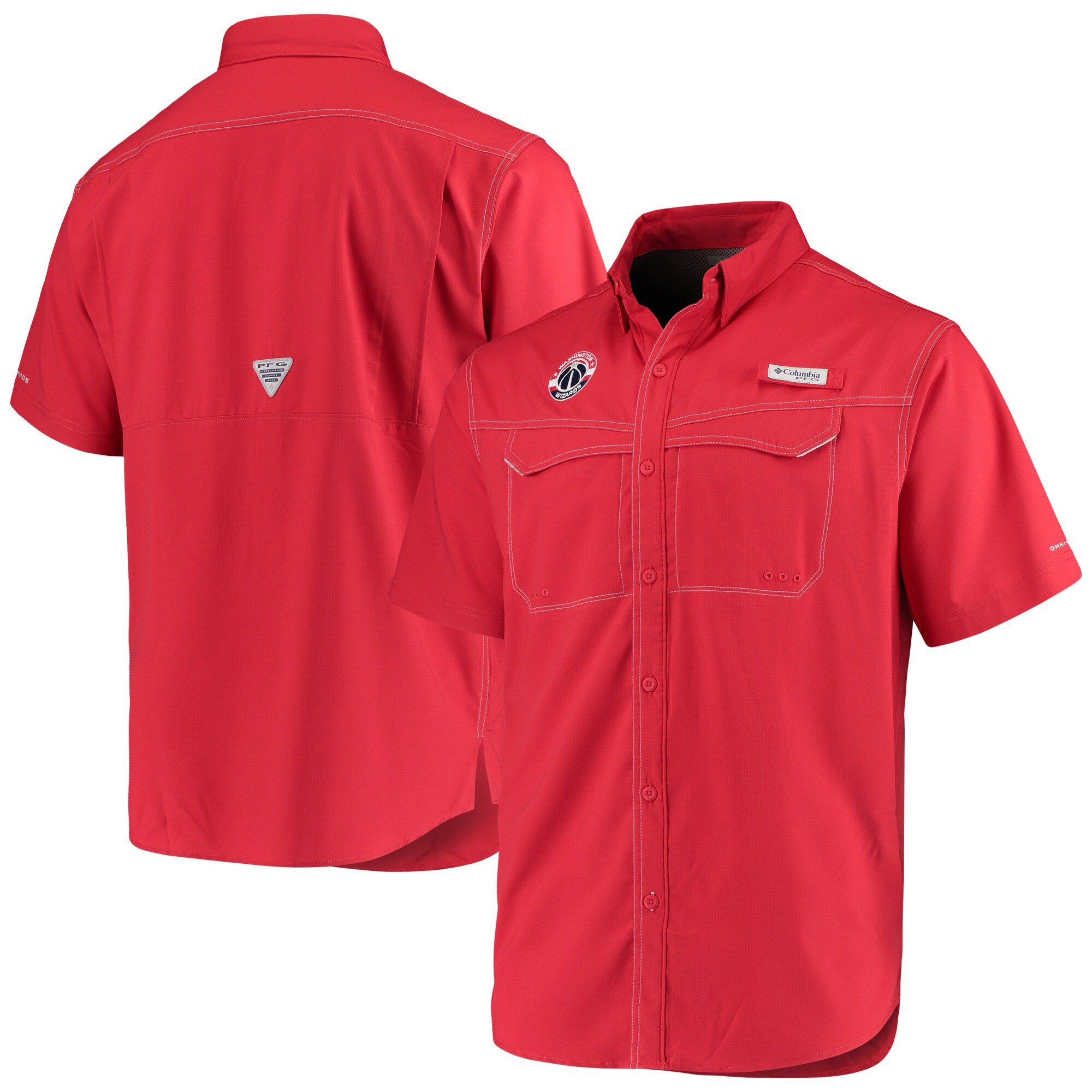 Washington Wizards Columbia Low Drag Offshore Omni-Shade Button-Up Shirt - Red