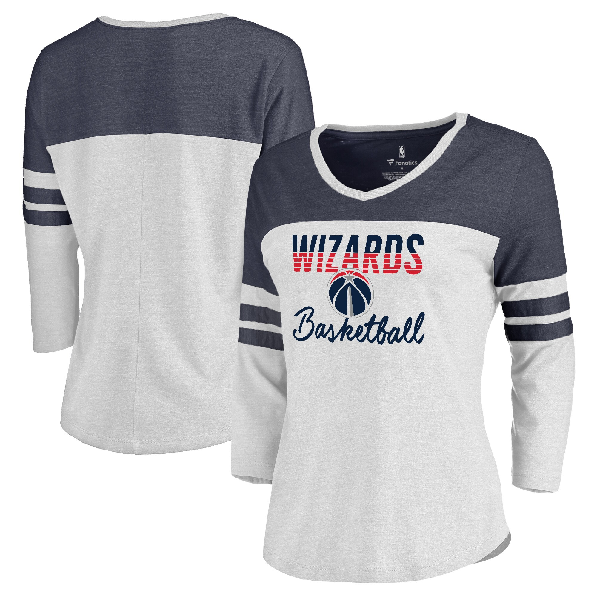 Washington Wizards Fanatics Branded Women's Plus Size Free Line Color Block 3/4-Sleeve Tri-Blend T-Shirt - White/Navy