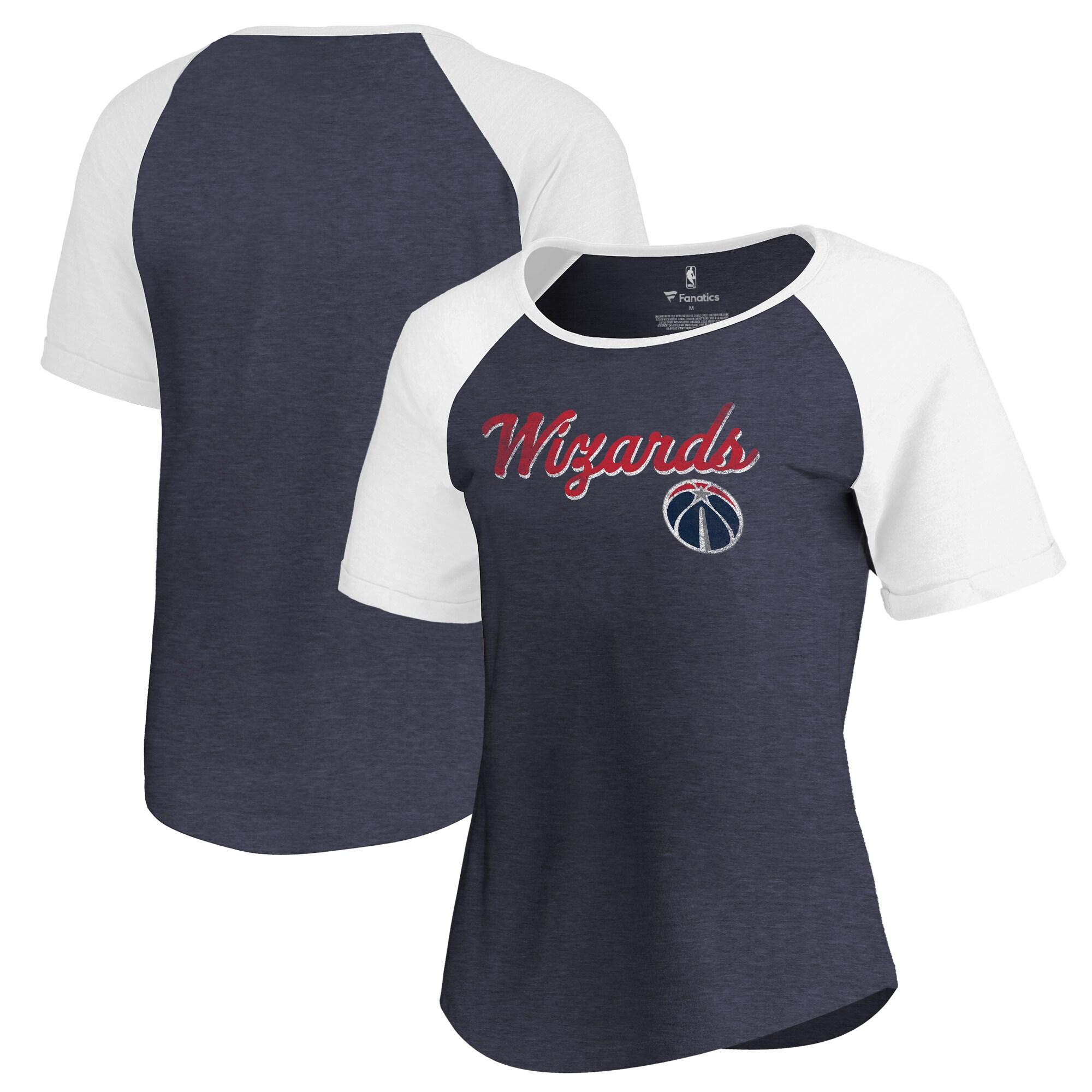 Washington Wizards Fanatics Branded Women's Rising Script Color Block Raglan Tri-Blend T-Shirt - Navy