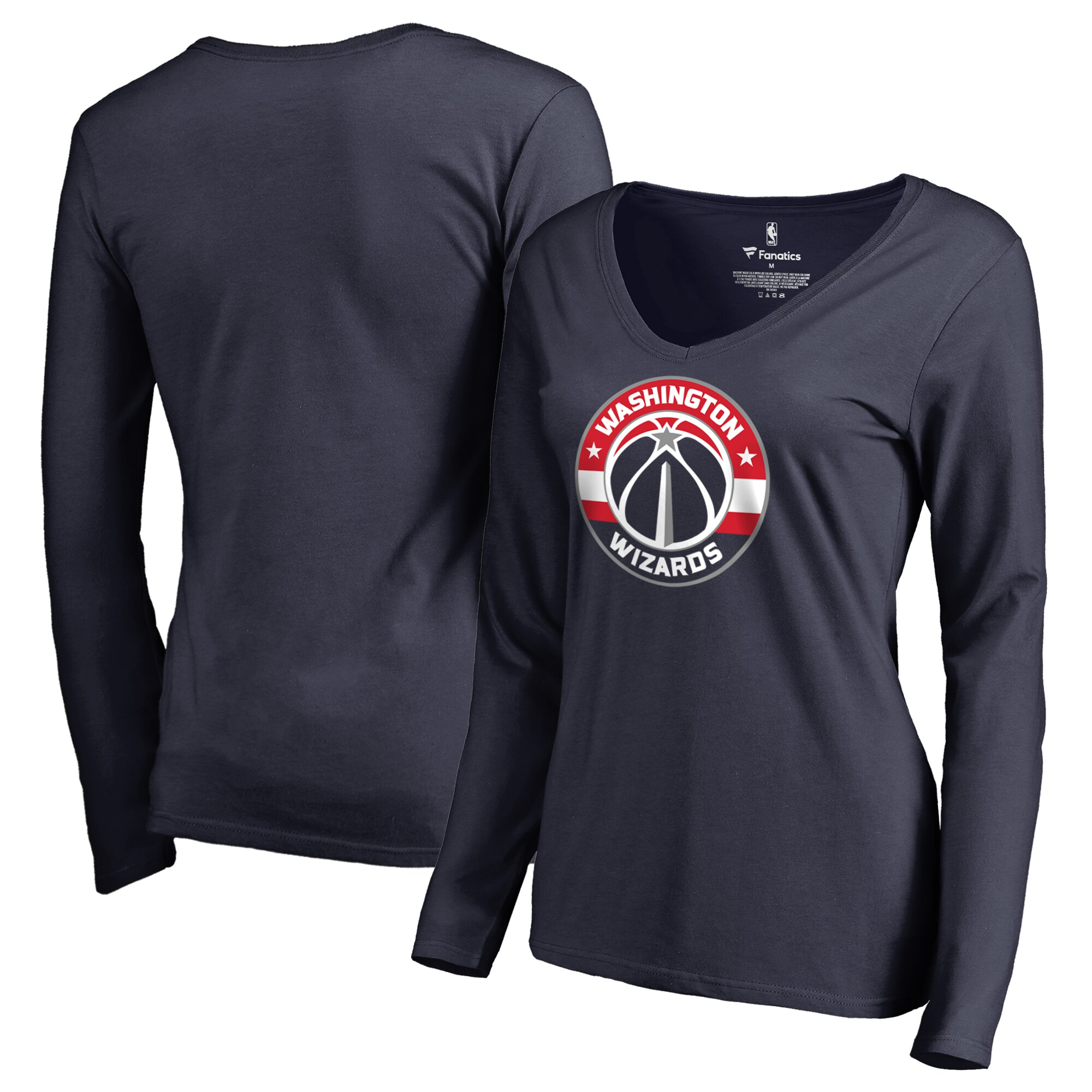 Washington Wizards Fanatics Branded Women's Primary Logo V-Neck Long Sleeve T-Shirt - Navy