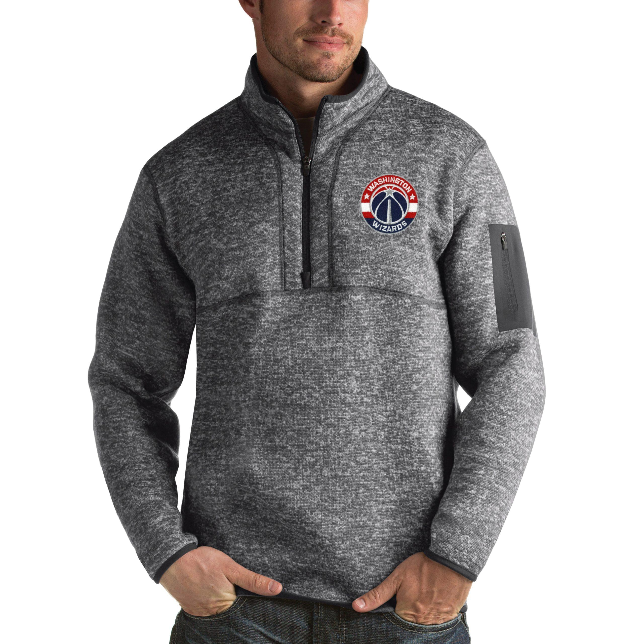 Washington Wizards Antigua Fortune 1/2-Zip Pullover Jacket - Heathered Black