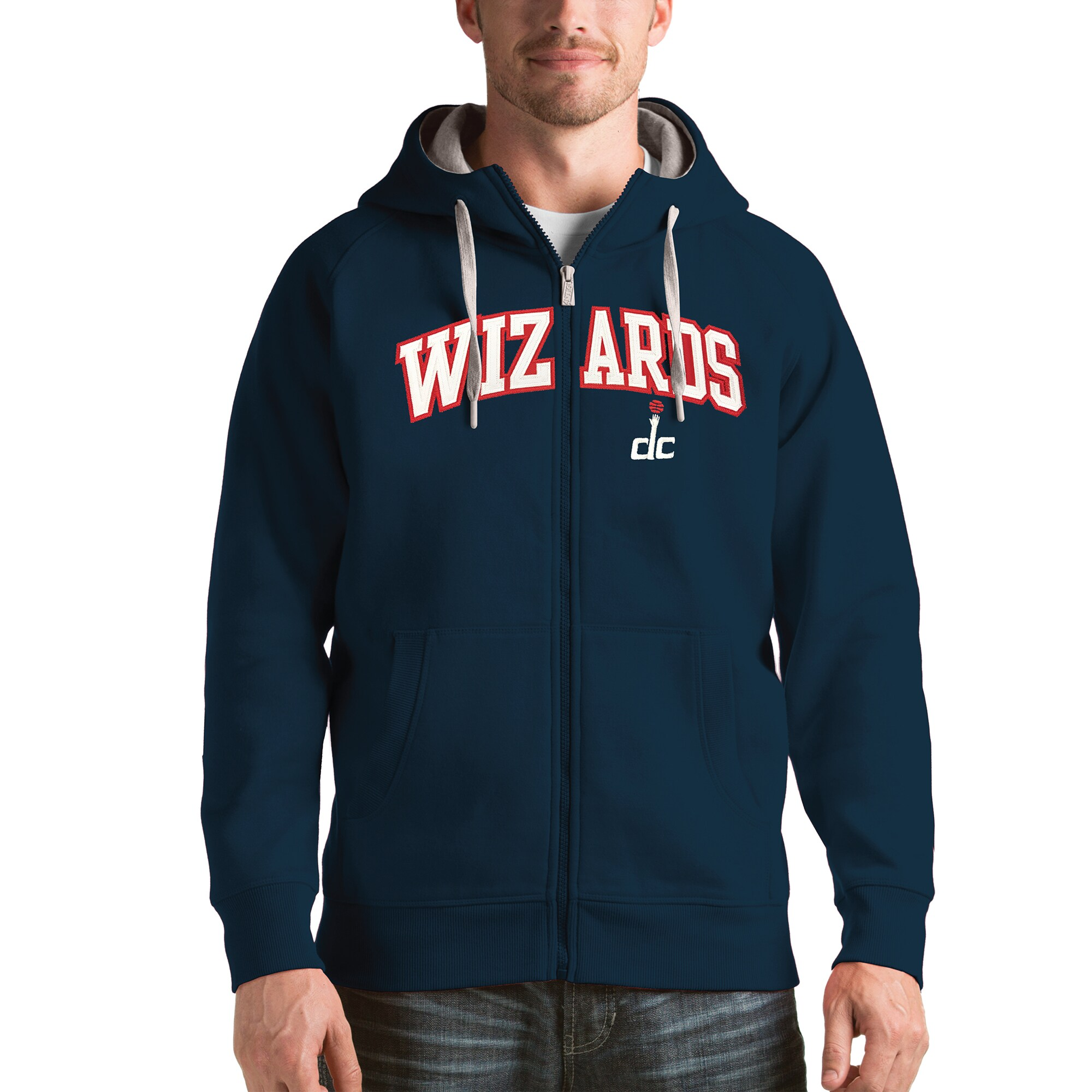 Washington Wizards Antigua Victory Full Zip Hoodie - Navy