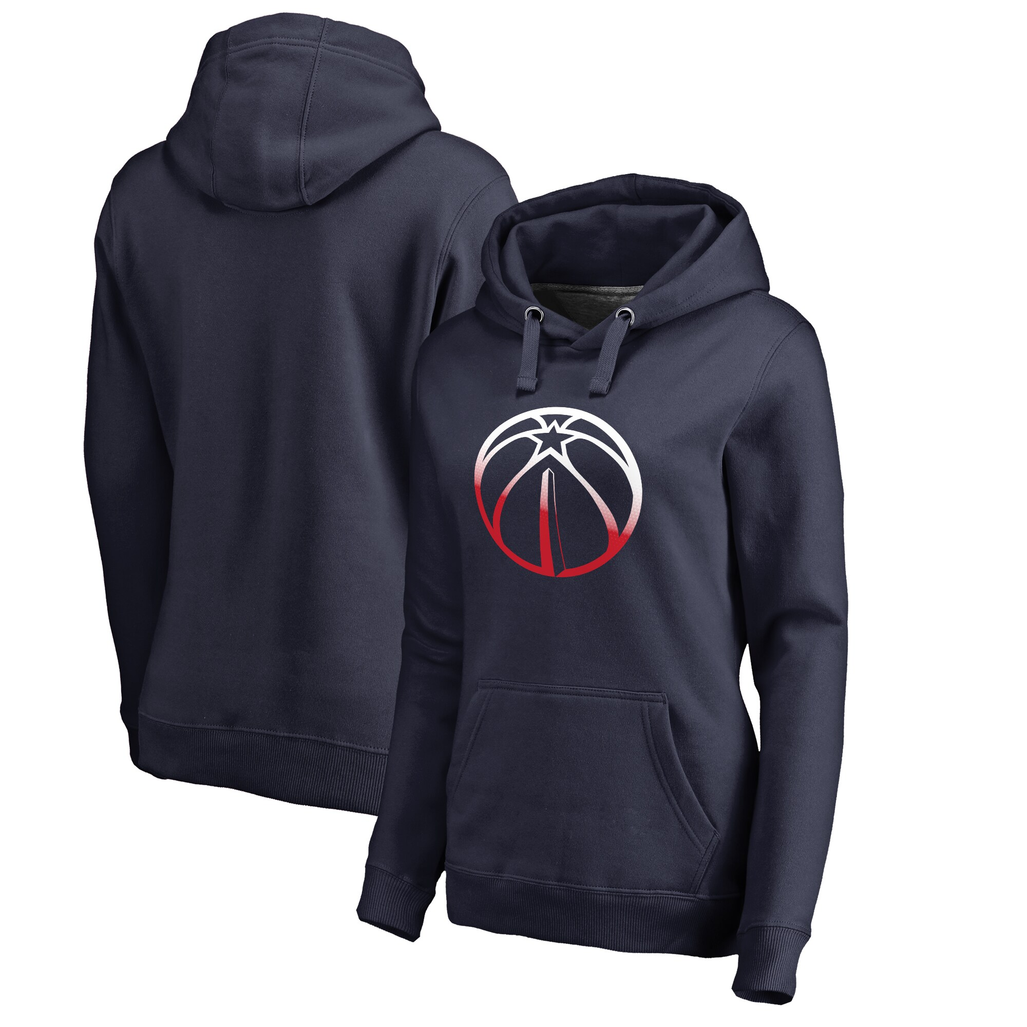 Washington Wizards Fanatics Branded Women's Plus Sizes Gradient Logo Pullover Hoodie - Navy