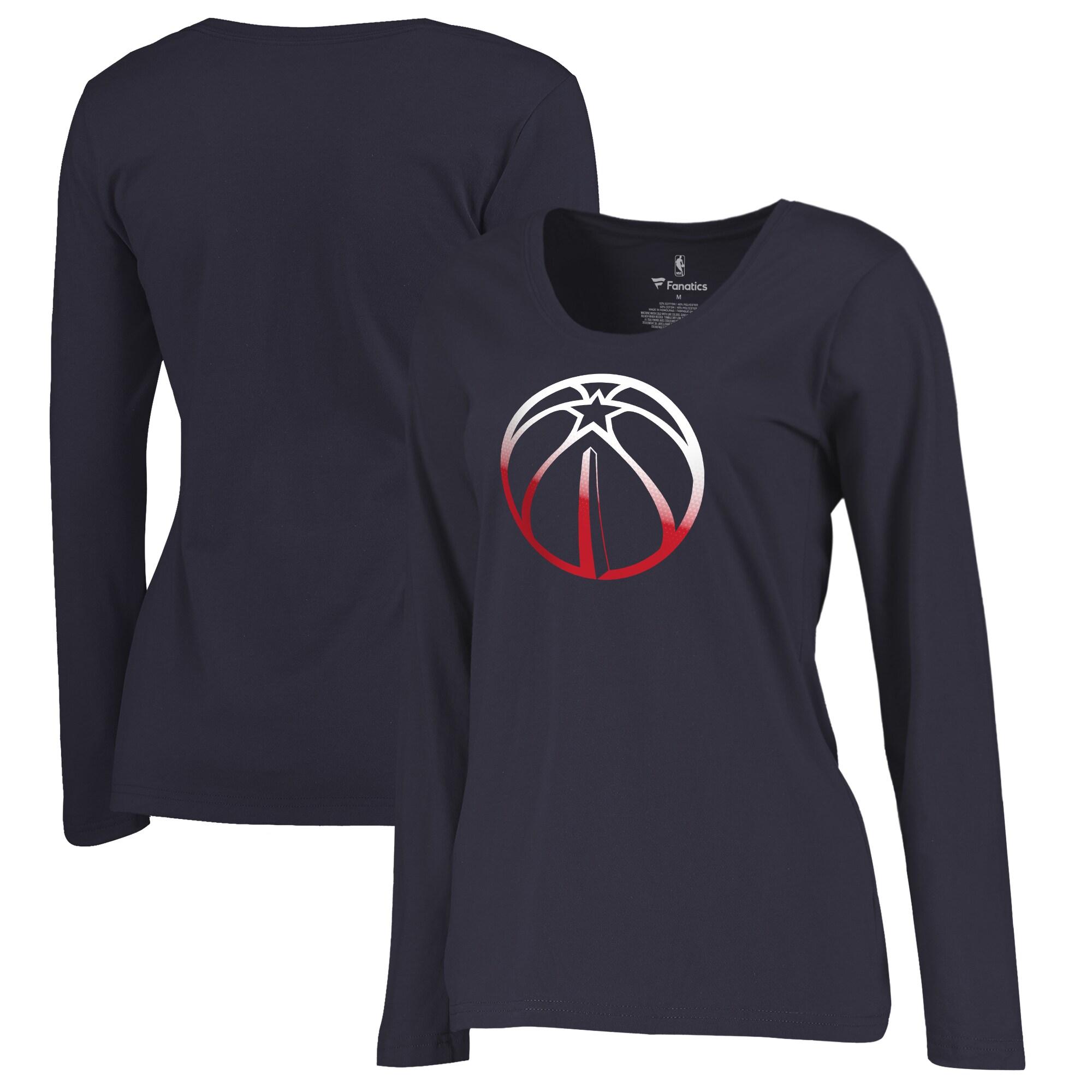 Washington Wizards Fanatics Branded Women's Plus Sizes Gradient Logo Long Sleeve T-Shirt - Navy