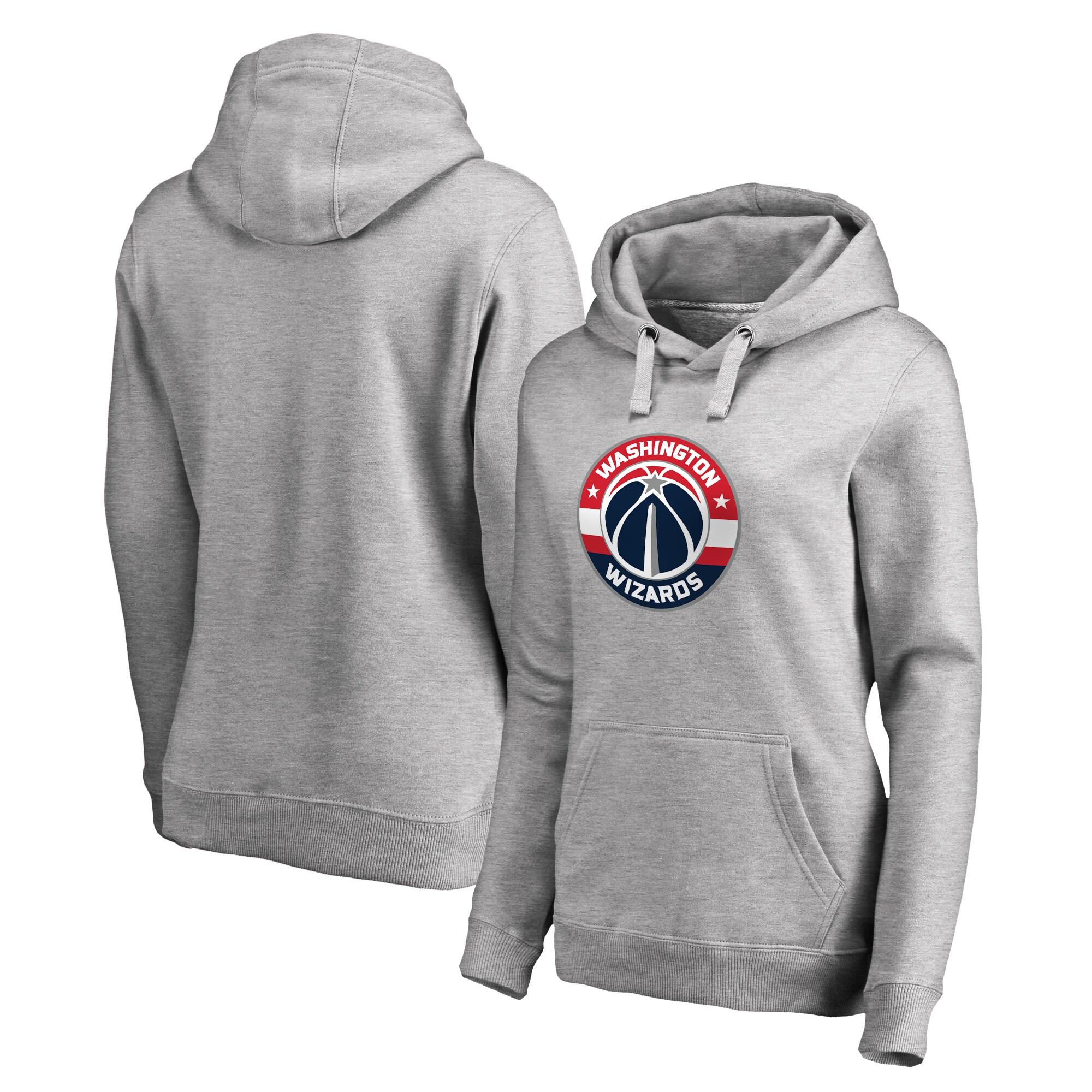 Washington Wizards Fanatics Branded Women's Plus Sizes Team Primary Logo Pullover Hoodie - Ash
