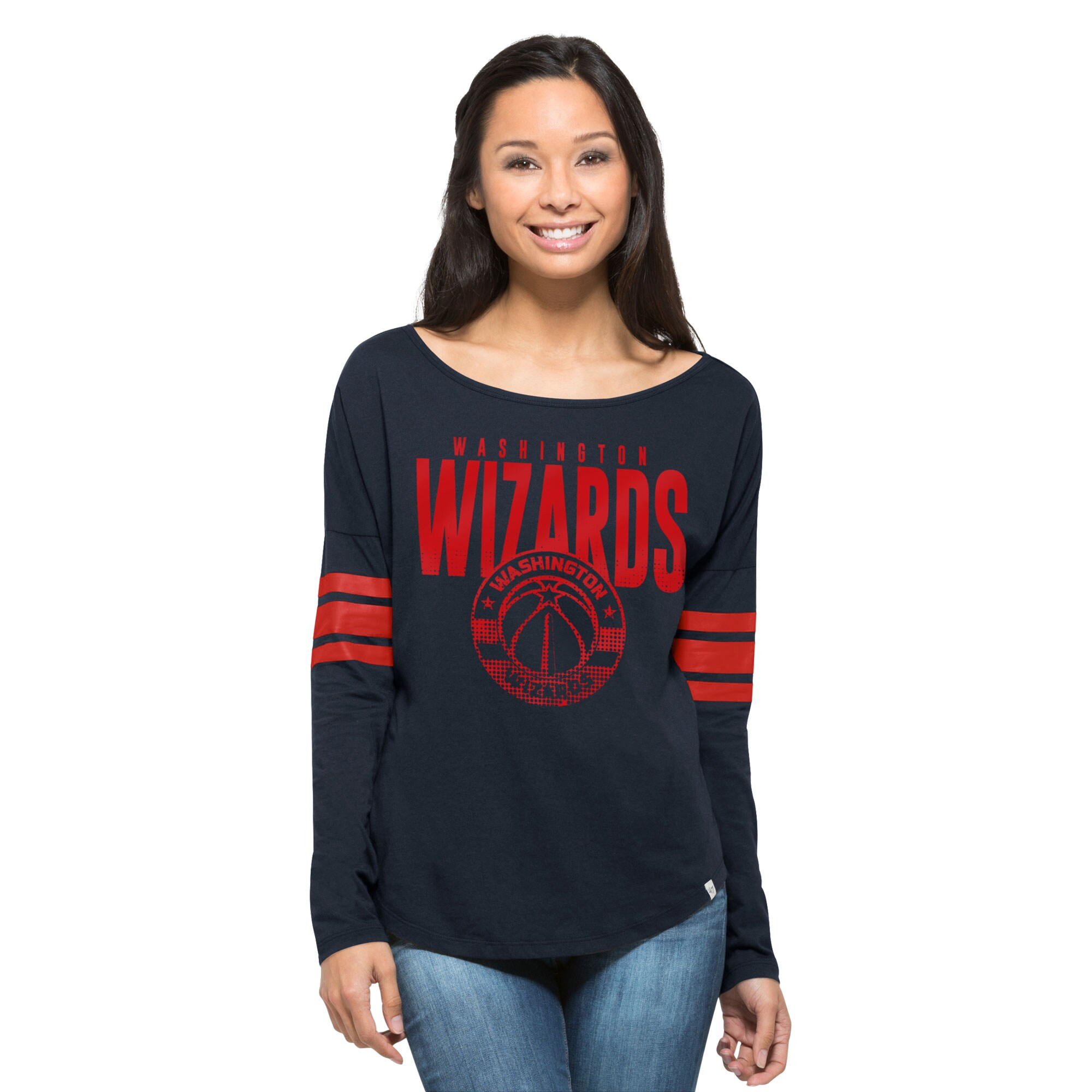 Washington Wizards '47 Women's Ladies Courtside Long Sleeve T-Shirt - Navy