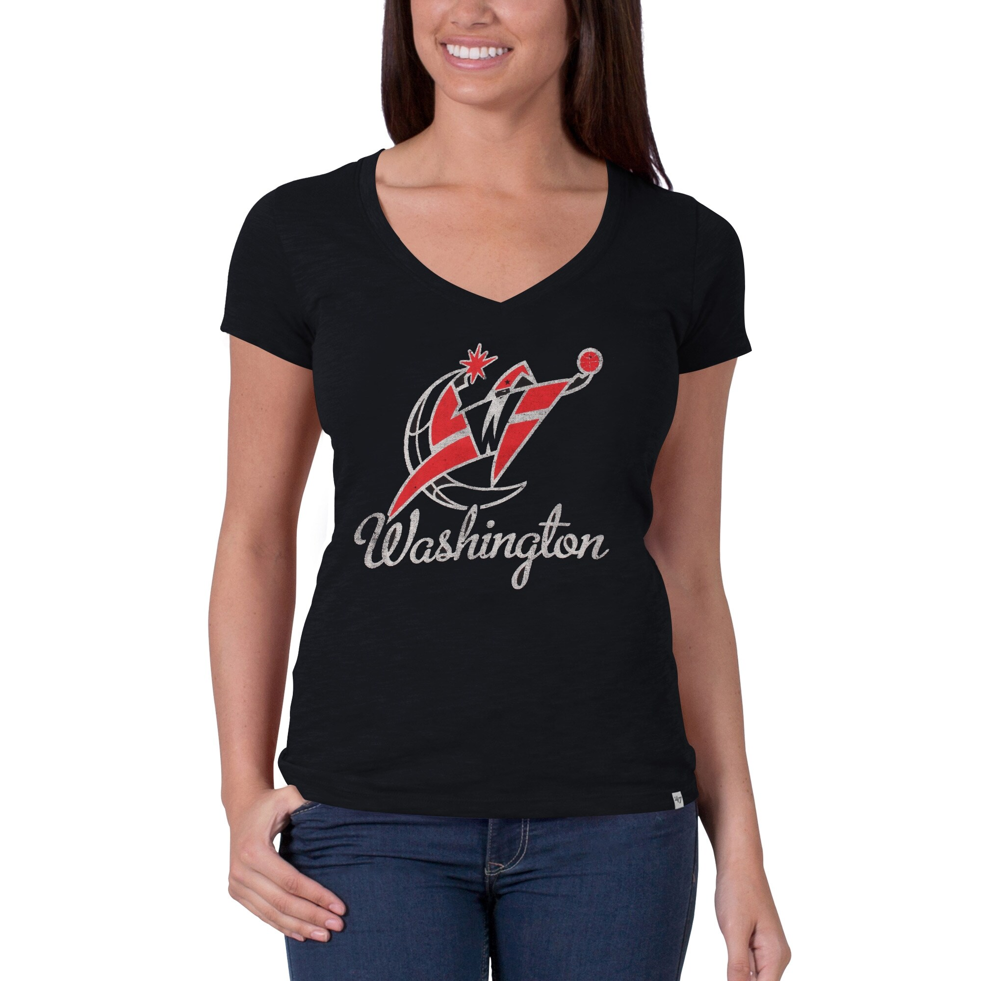 Washington Wizards '47 Brand Women's Current Logo Flanker V-Neck T-Shirt - Navy Blue
