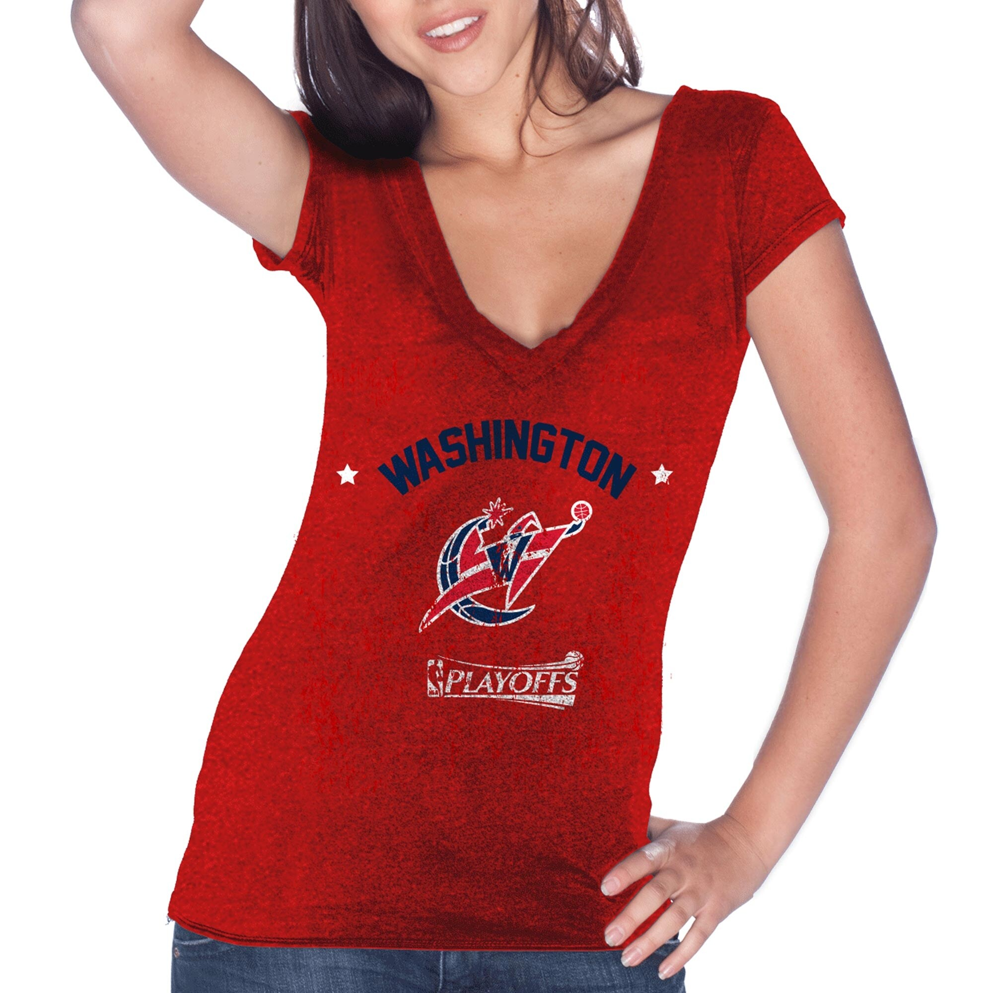 Washington Wizards Majestic Threads Women's Playoffs V-Neck T-Shirt - Red
