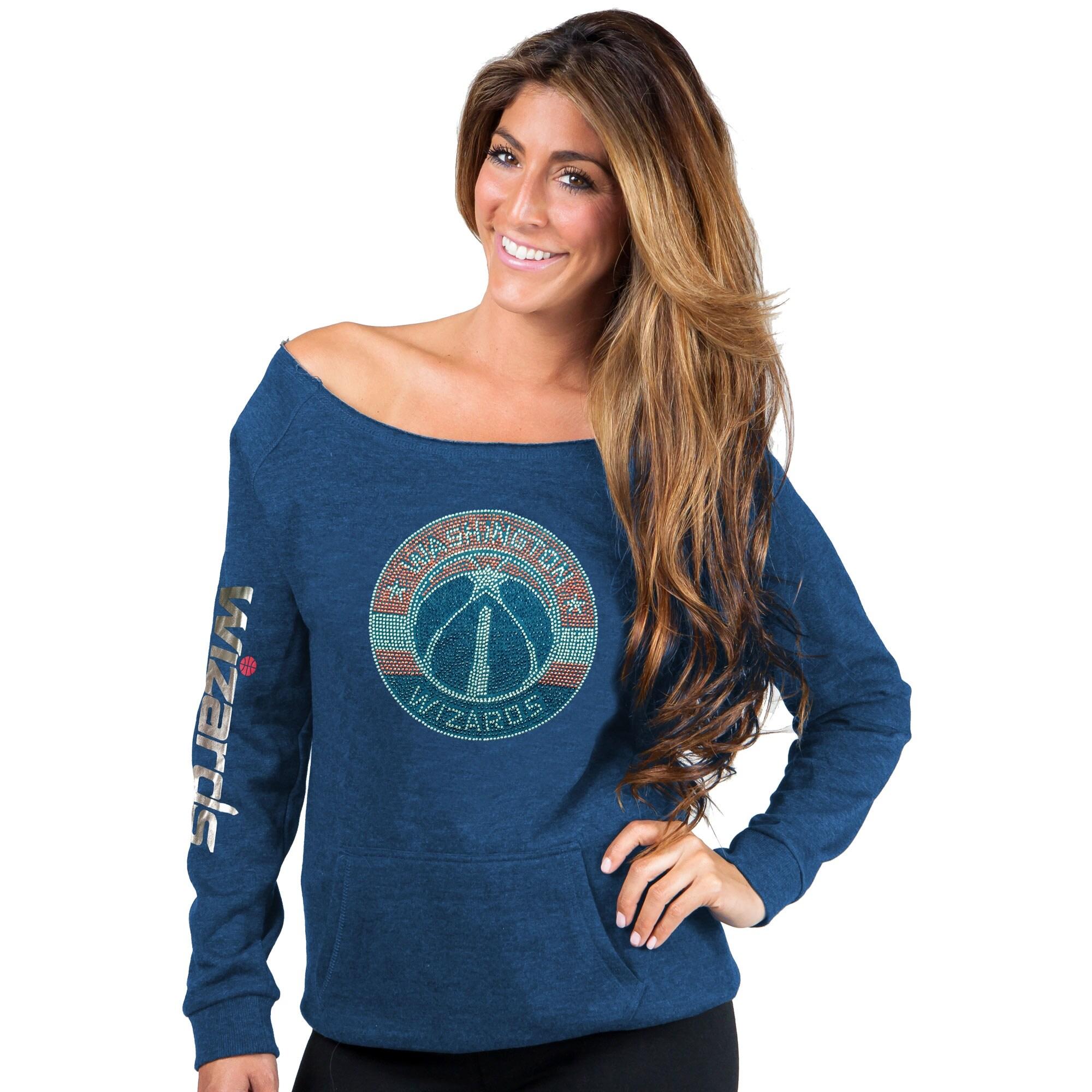 Washington Wizards Cuce Women's Sideliner III Off the Shoulder Fleece Top - Blue