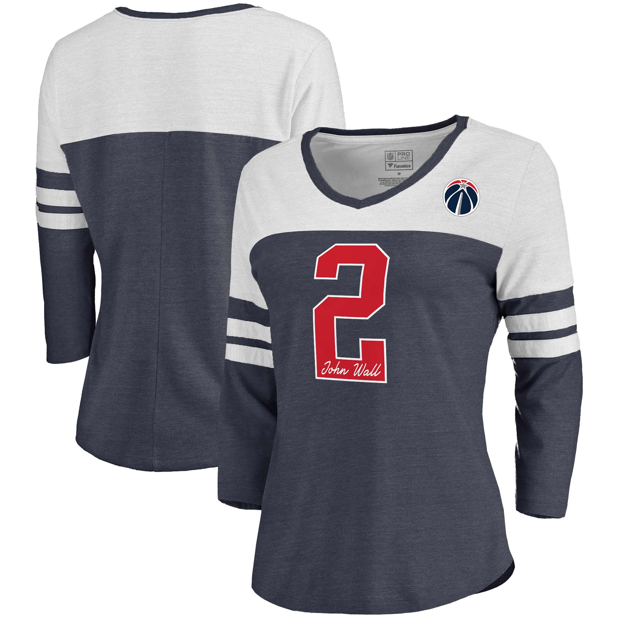 John Wall Washington Wizards Fanatics Branded Women's Starstruck Name & Number Tri-Blend 3/4-Sleeve V-Neck T-Shirt - Navy