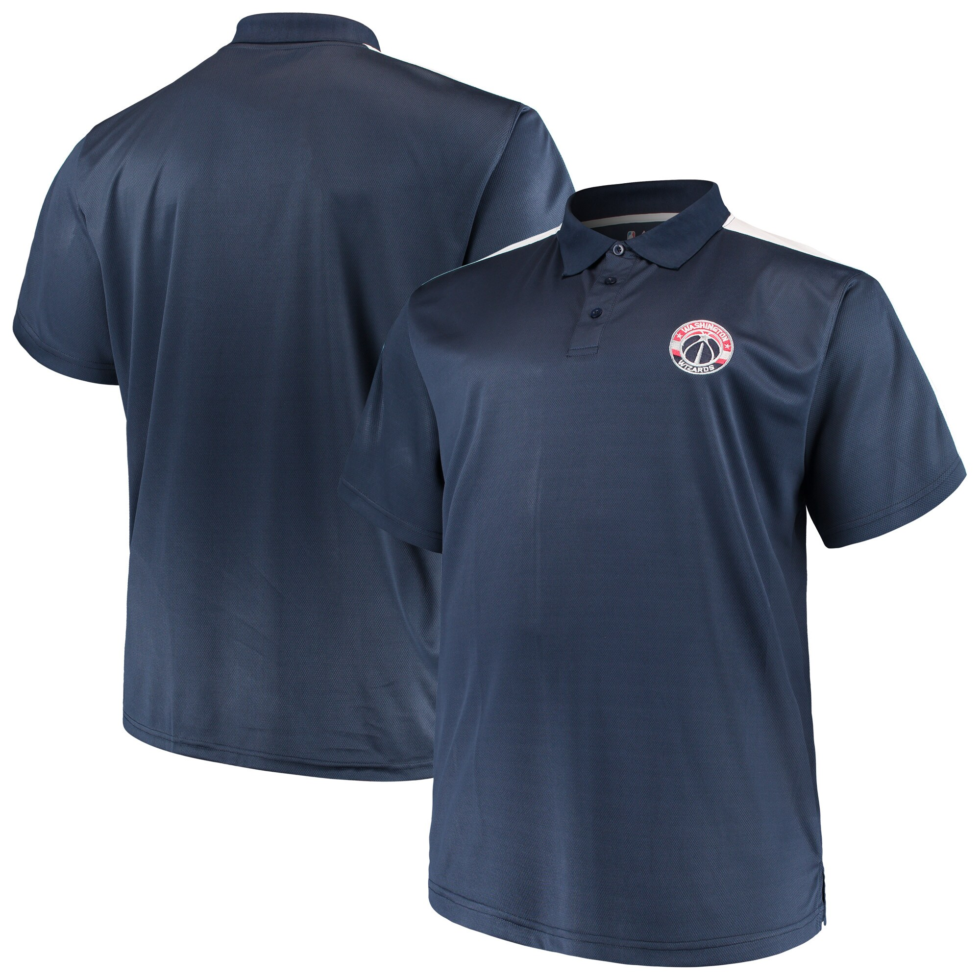 Washington Wizards Majestic Big & Tall Birdseye Polo - Navy/White