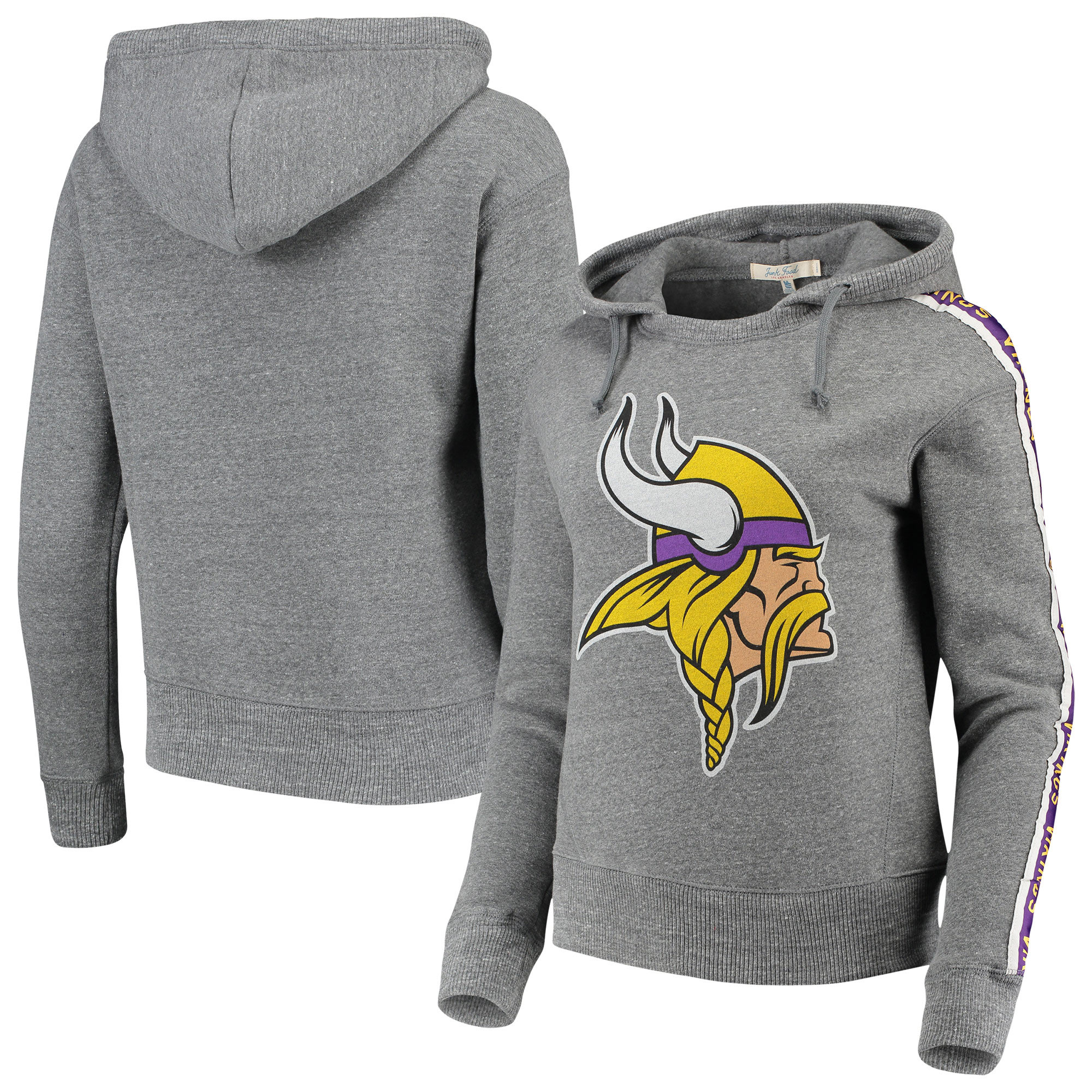 Minnesota Vikings Chiefs Junk Food Women's Sunday Liberty Tri-Blend Pullover Hoodie - Heathered Gray