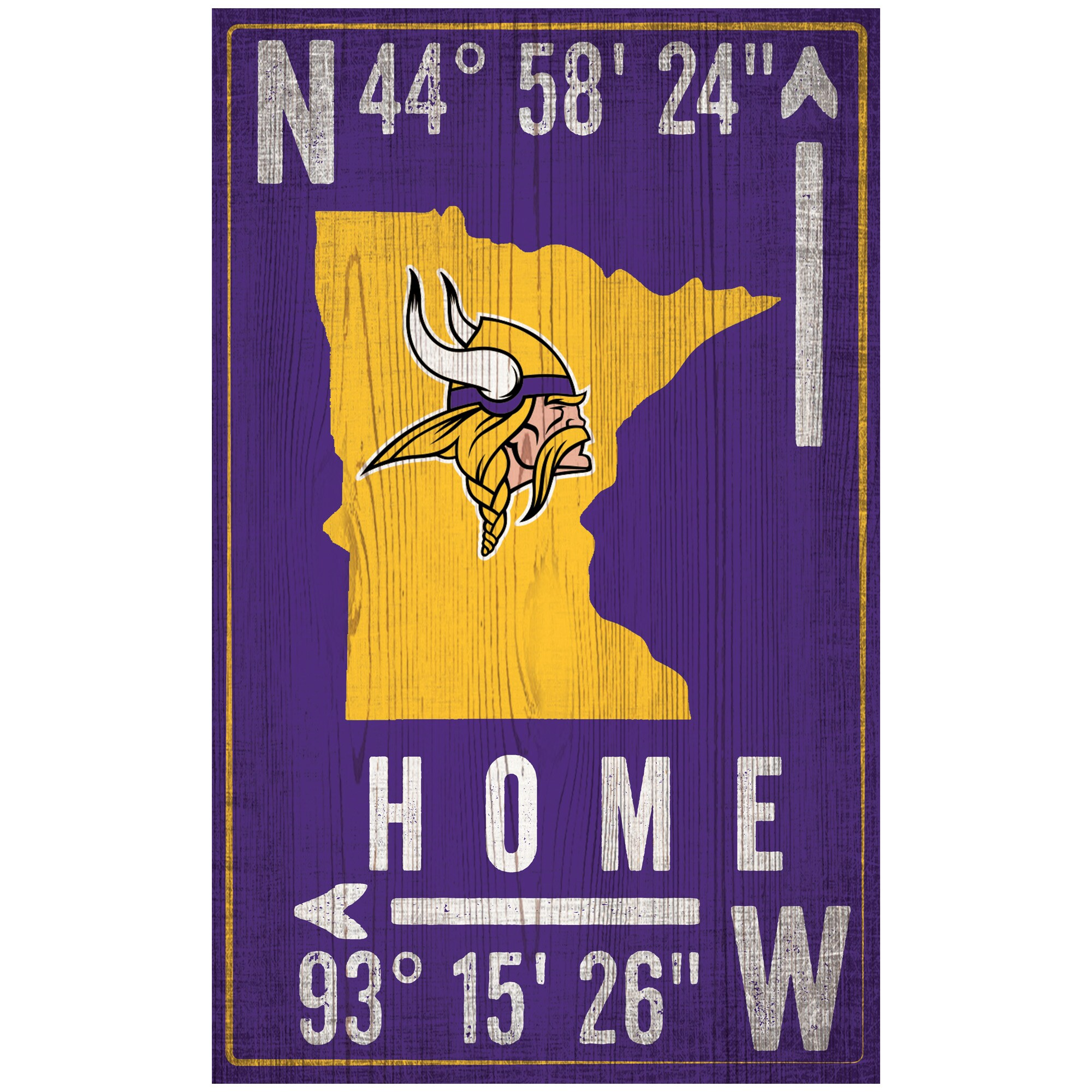 "Minnesota Vikings 11"" x 19"" Coordinate Sign"