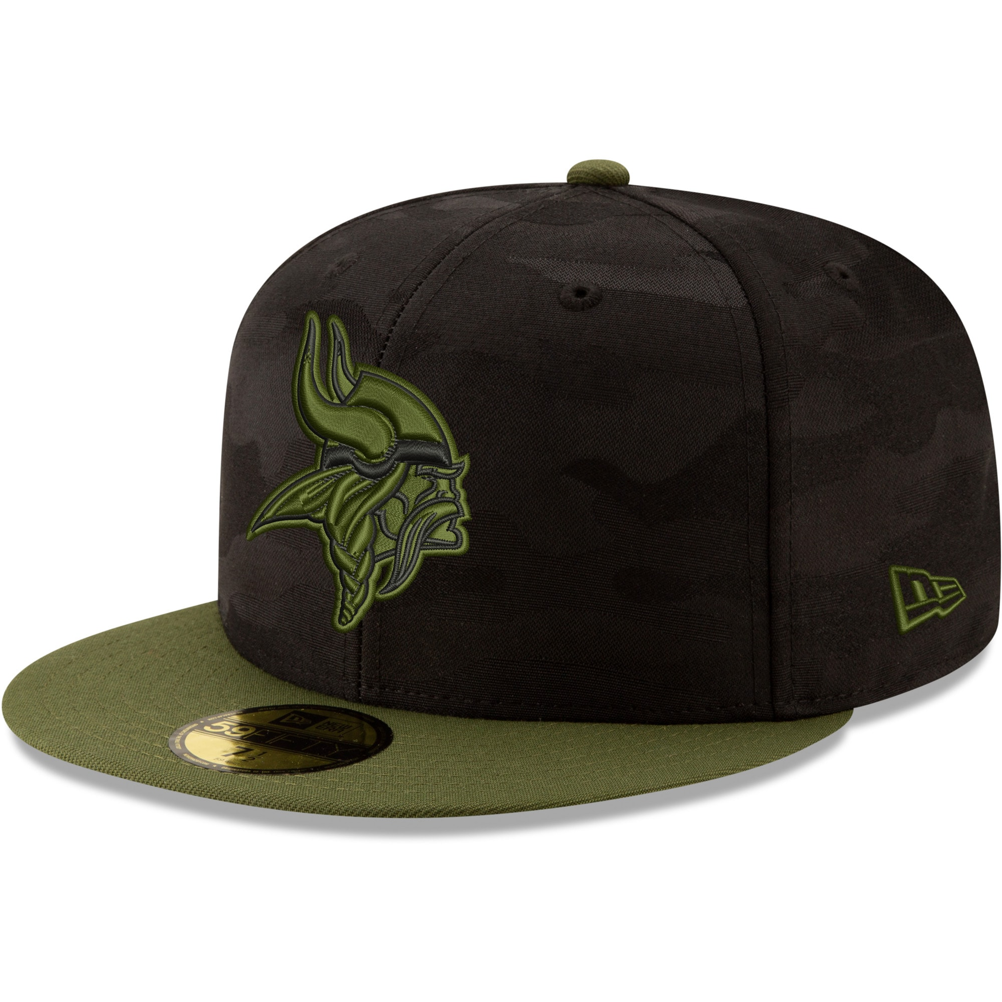 Minnesota Vikings New Era Camo Royale 59FIFTY Fitted Hat - Black/Olive