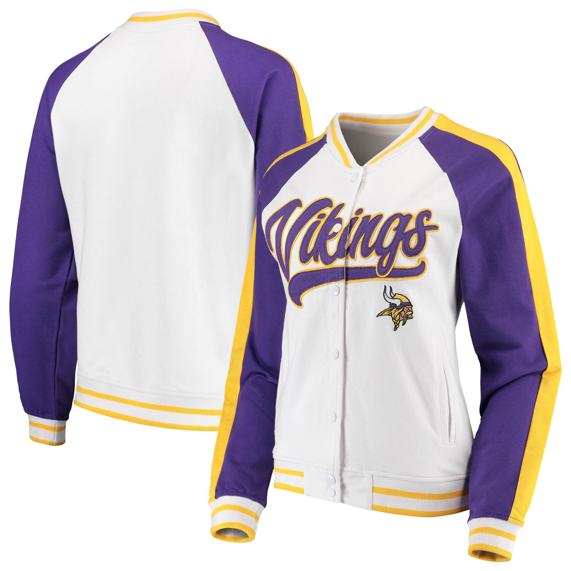 Minnesota Vikings New Era Women's Varsity Full Snap Jacket - White/Purple