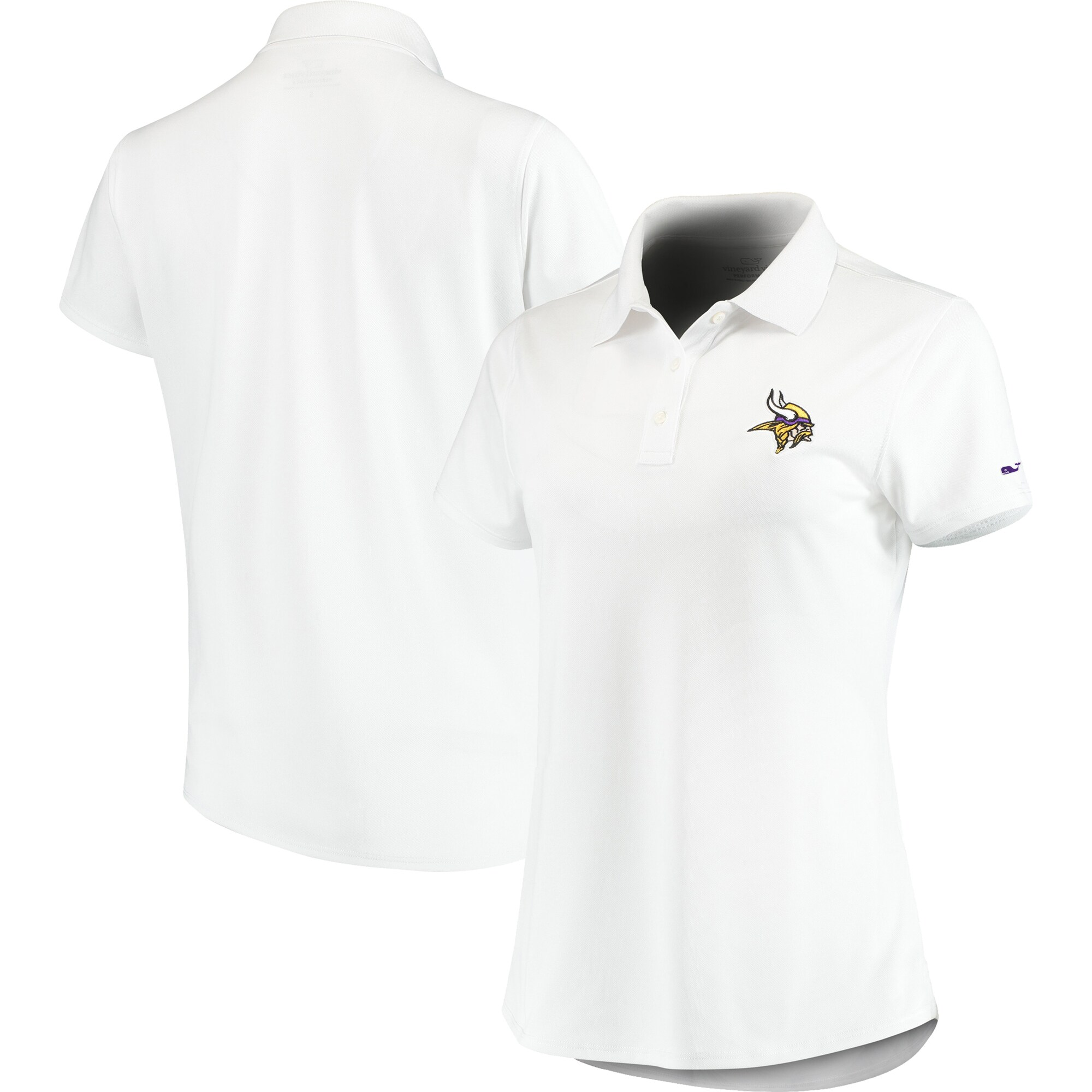 Minnesota Vikings Vineyard Vines Women's Pique Sport Performance Polo - White