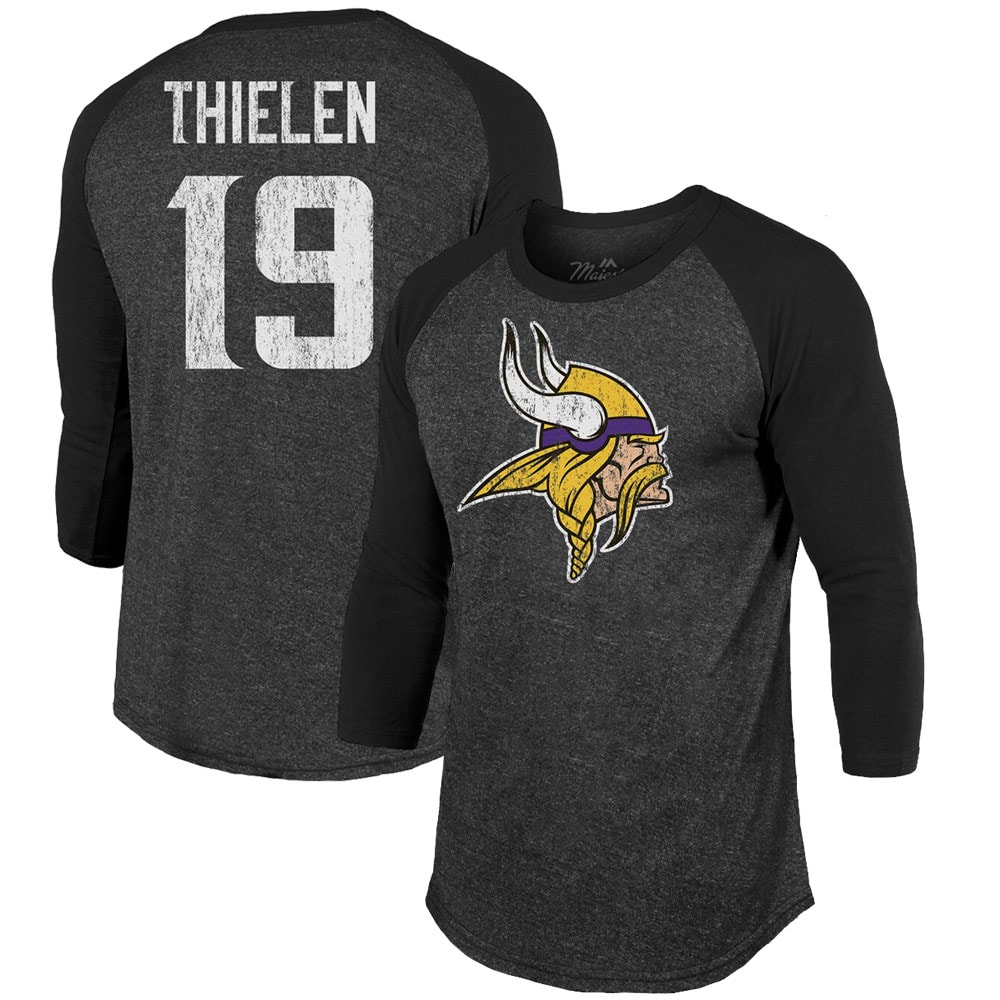 Adam Thielen Minnesota Vikings Majestic Threads Player Name & Number Tri-Blend 3/4-Sleeve Raglan T-Shirt - Black