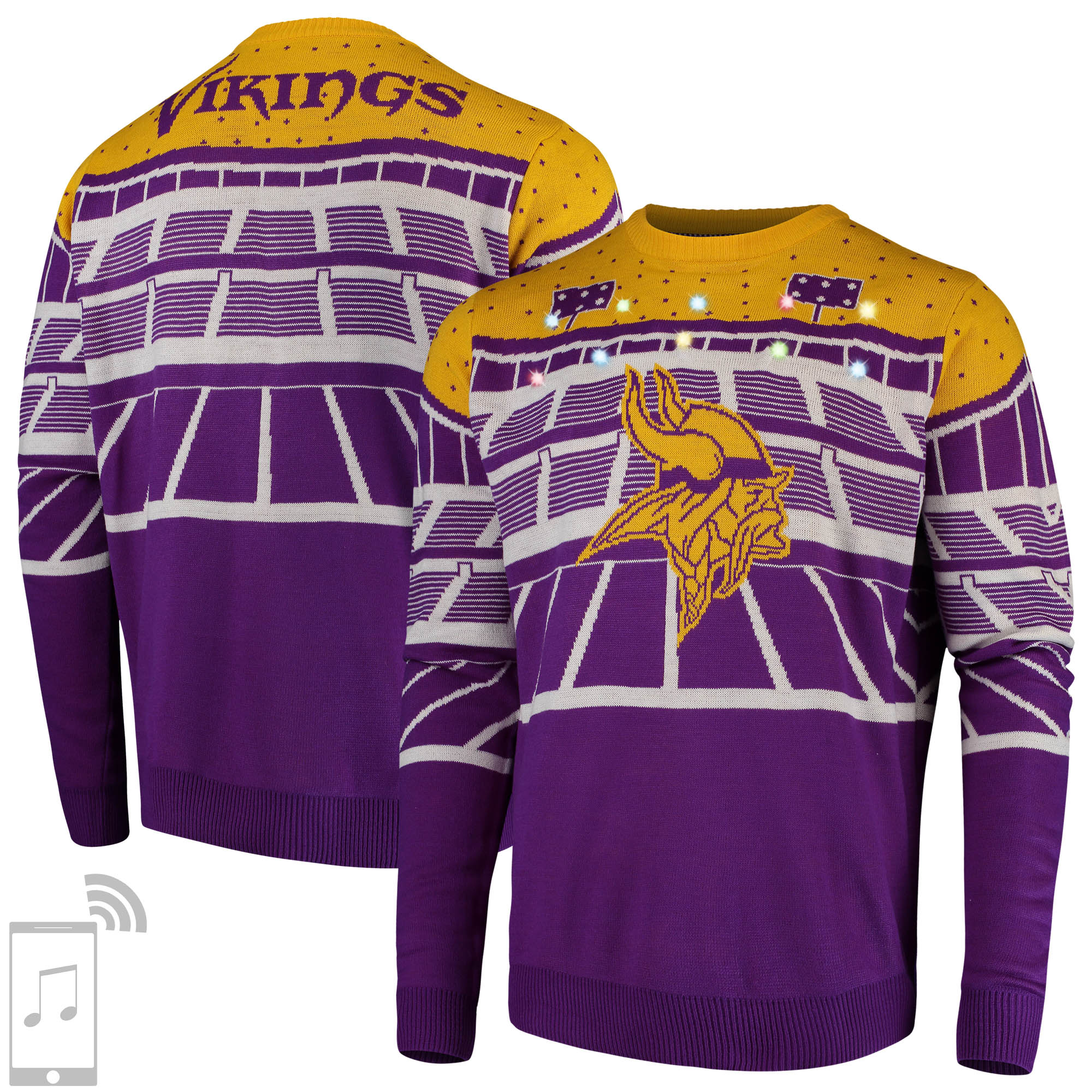 Minnesota Vikings Bluetooth Light Up Ugly Sweater - Purple