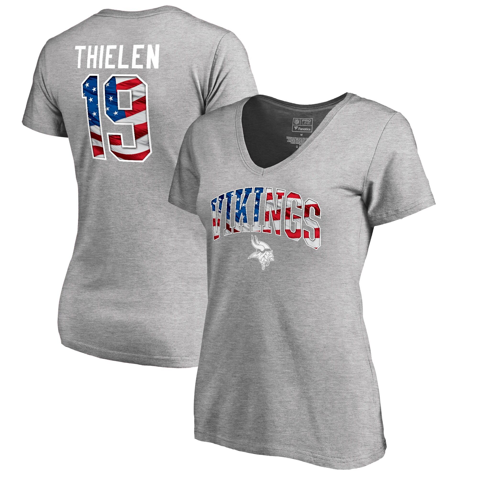 Adam Thielen Minnesota Vikings NFL Pro Line by Fanatics Branded Women's Banner Wave Name & Number T-Shirt - Heather Gray