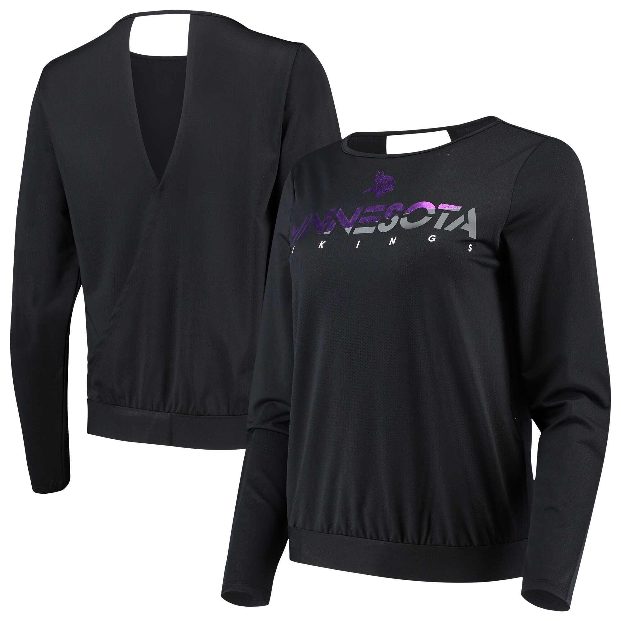 Minnesota Vikings Touch by Alyssa Milano Women's Breeze Back Long Sleeve T-Shirt - Black