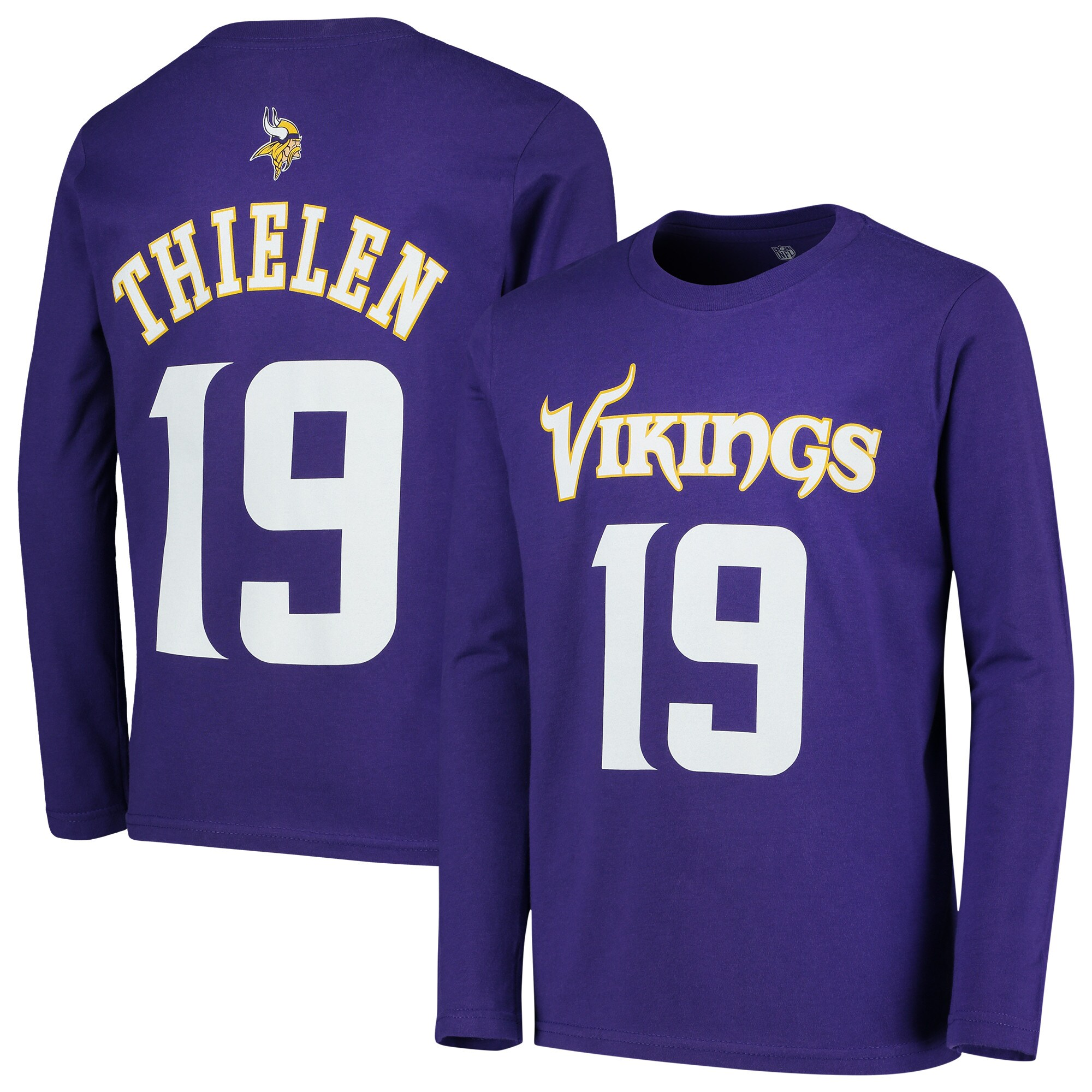Adam Thielen Minnesota Vikings Youth Mainliner Name & Number Long Sleeve T-Shirt - Purple