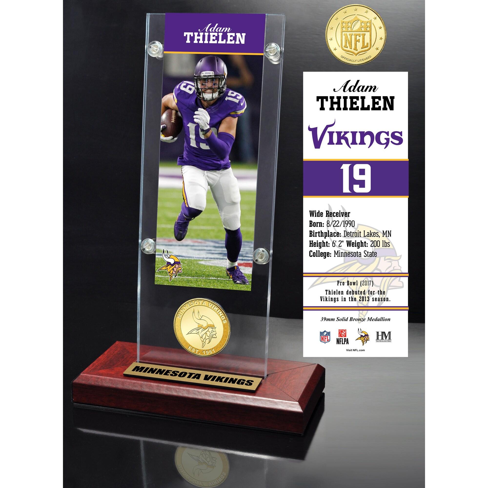 "Minnesota Vikings Highland Mint Adam Thielen 3.5"" x 9"" Player Ticket Acrylic"