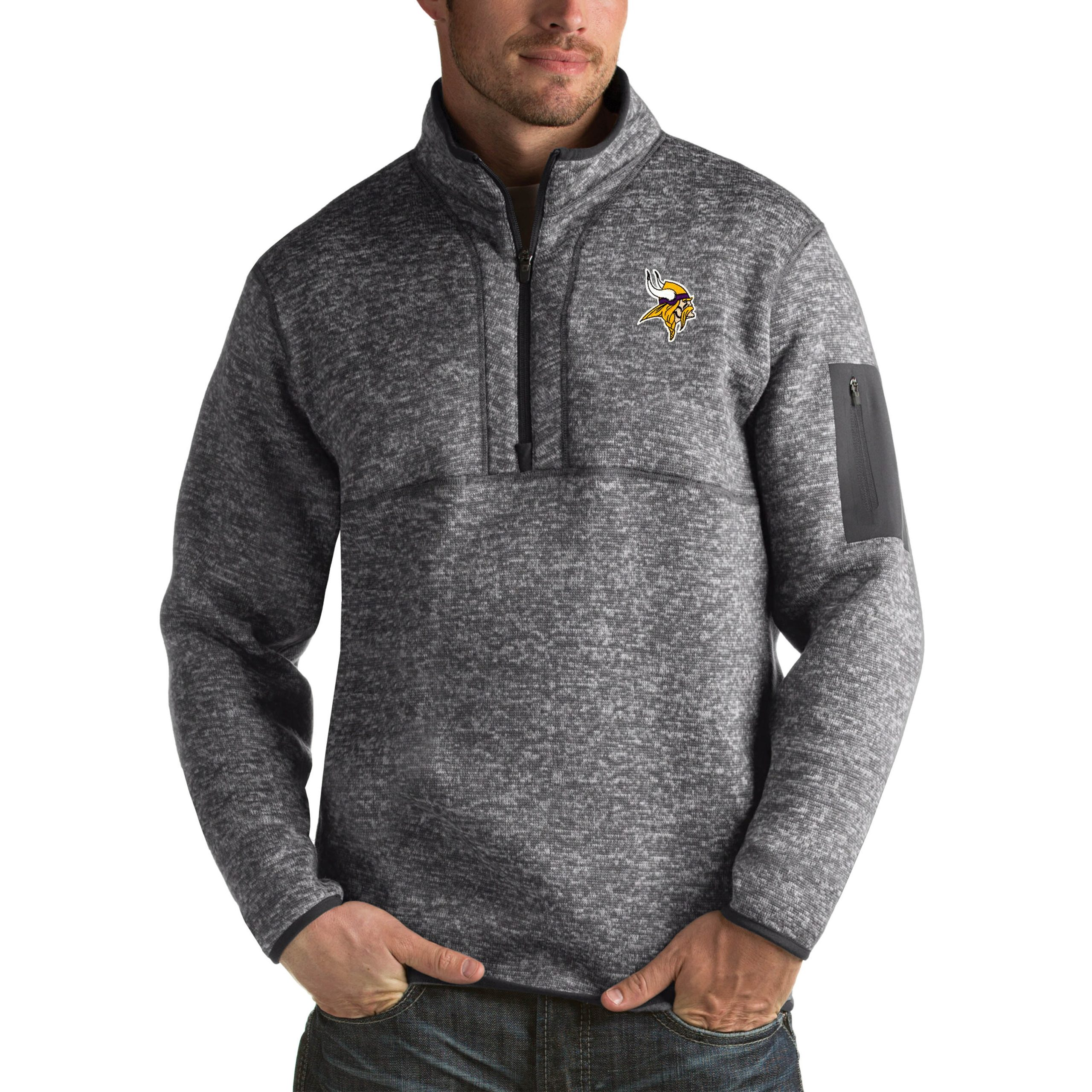Minnesota Vikings Antigua Fortune Big & Tall Quarter-Zip Pullover Jacket - Charcoal