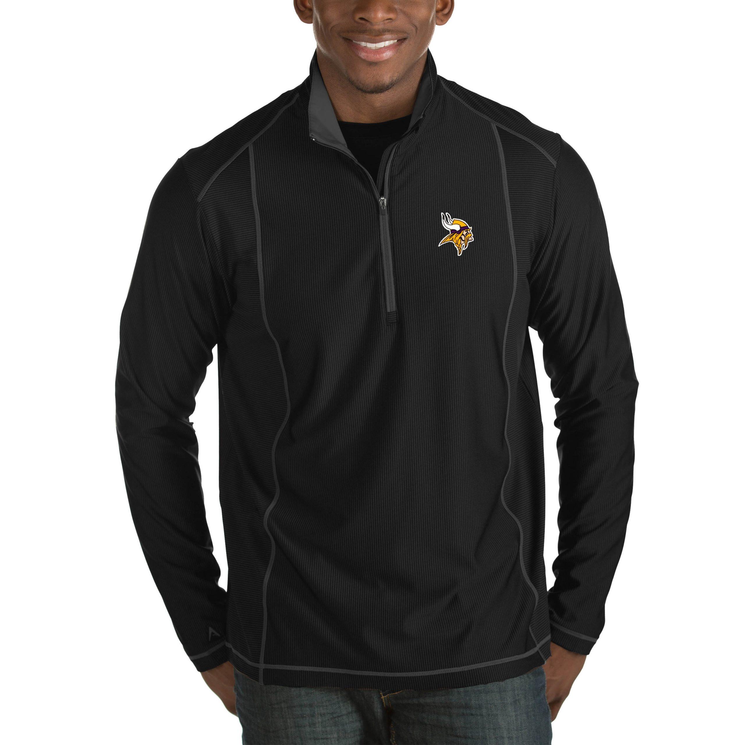 Minnesota Vikings Antigua Tempo Big & Tall Half-Zip Pullover Jacket - Heather Black