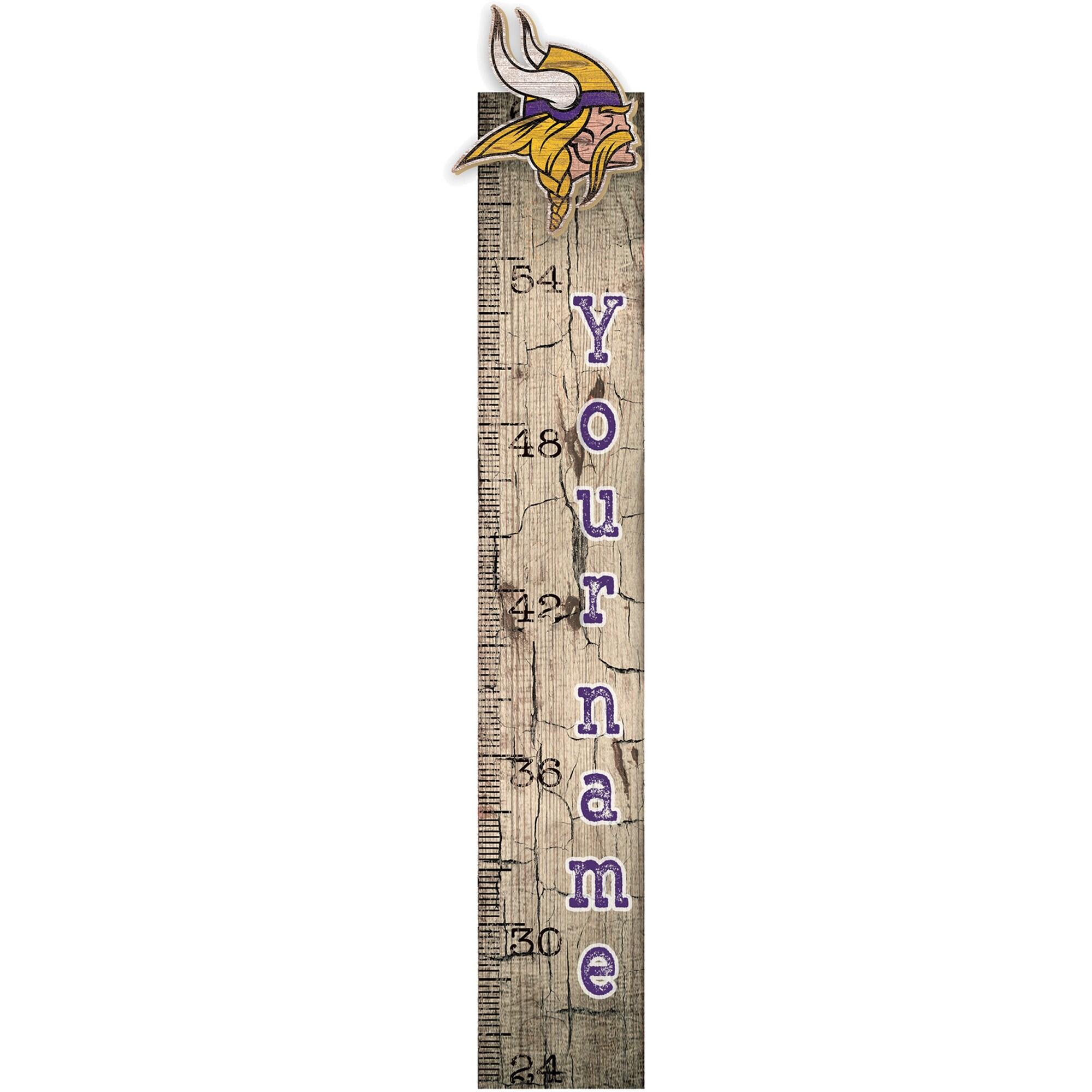 """Minnesota Vikings 6"""" x 36"""" Personalized Growth Chart Sign"""