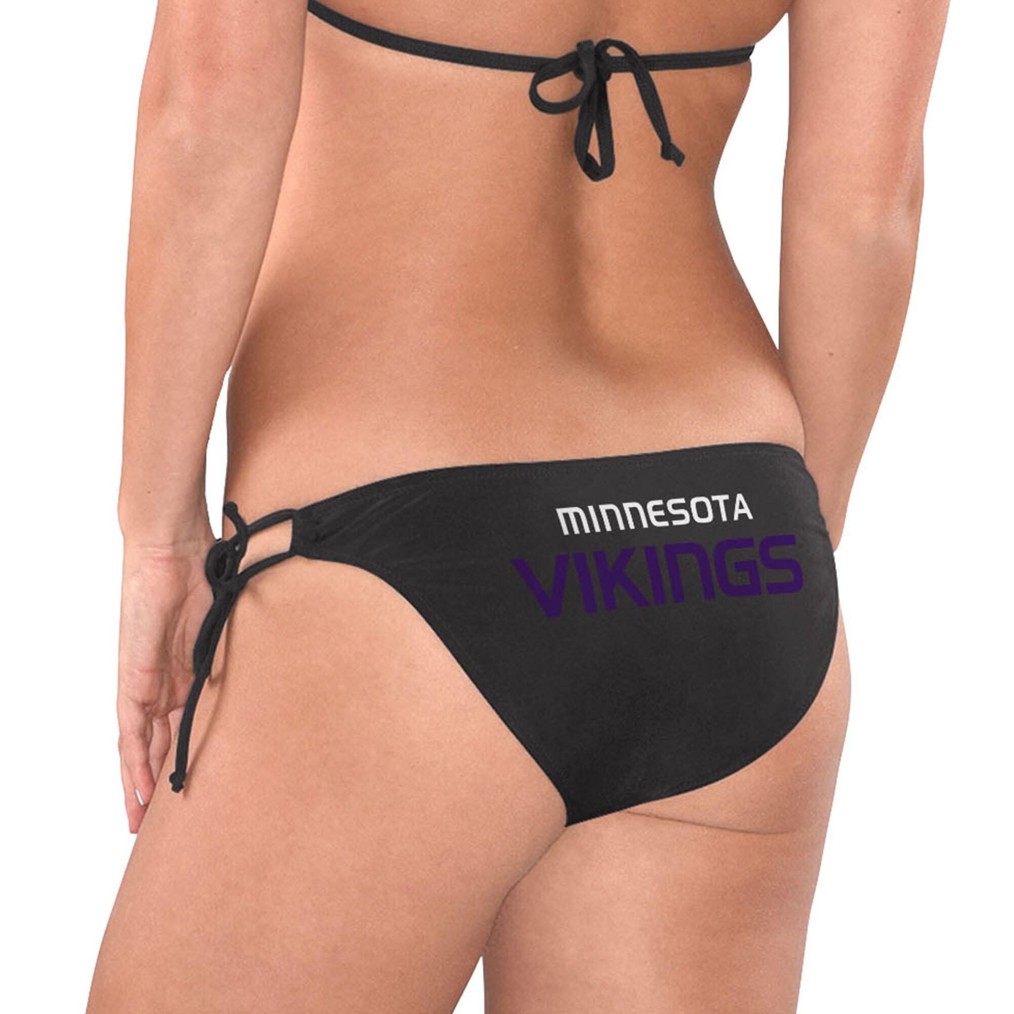 Minnesota Vikings G-III 4Her by Carl Banks Women's Breaking Waves Bikini Bottom - Black