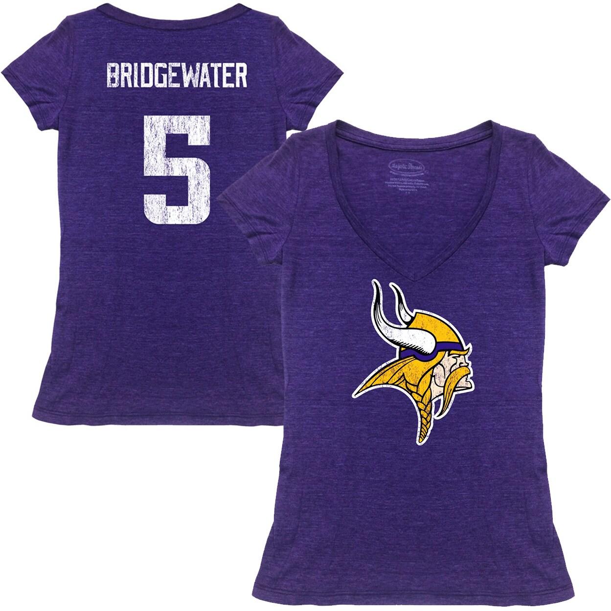 Teddy Bridgewater Minnesota Vikings Tri-Blend Name & Number T-Shirt - Purple