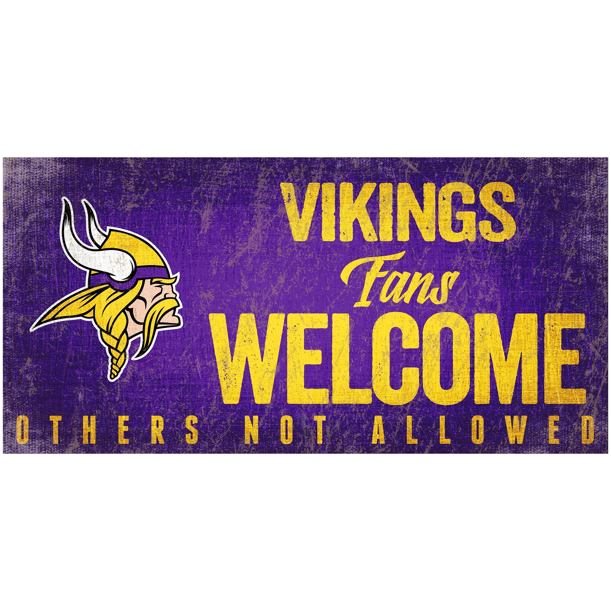 """Minnesota Vikings 6"""" x 12"""" Fans Welcome Sign"""