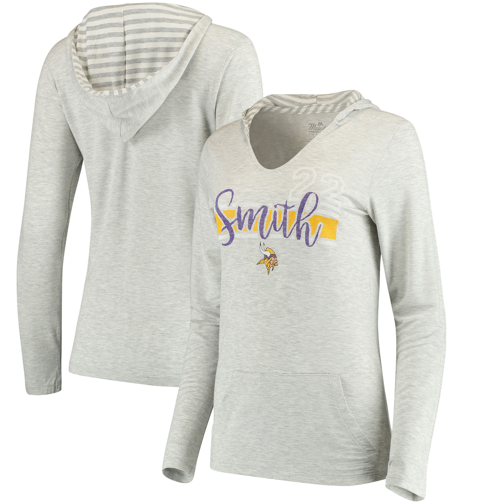 Harrison Smith Minnesota Vikings Women's Pocket Name & Number Hoodie T-Shirt - Gray
