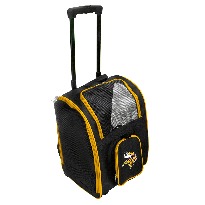 Minnesota Vikings 2-Wheeled Roller Pet Carrier - Black