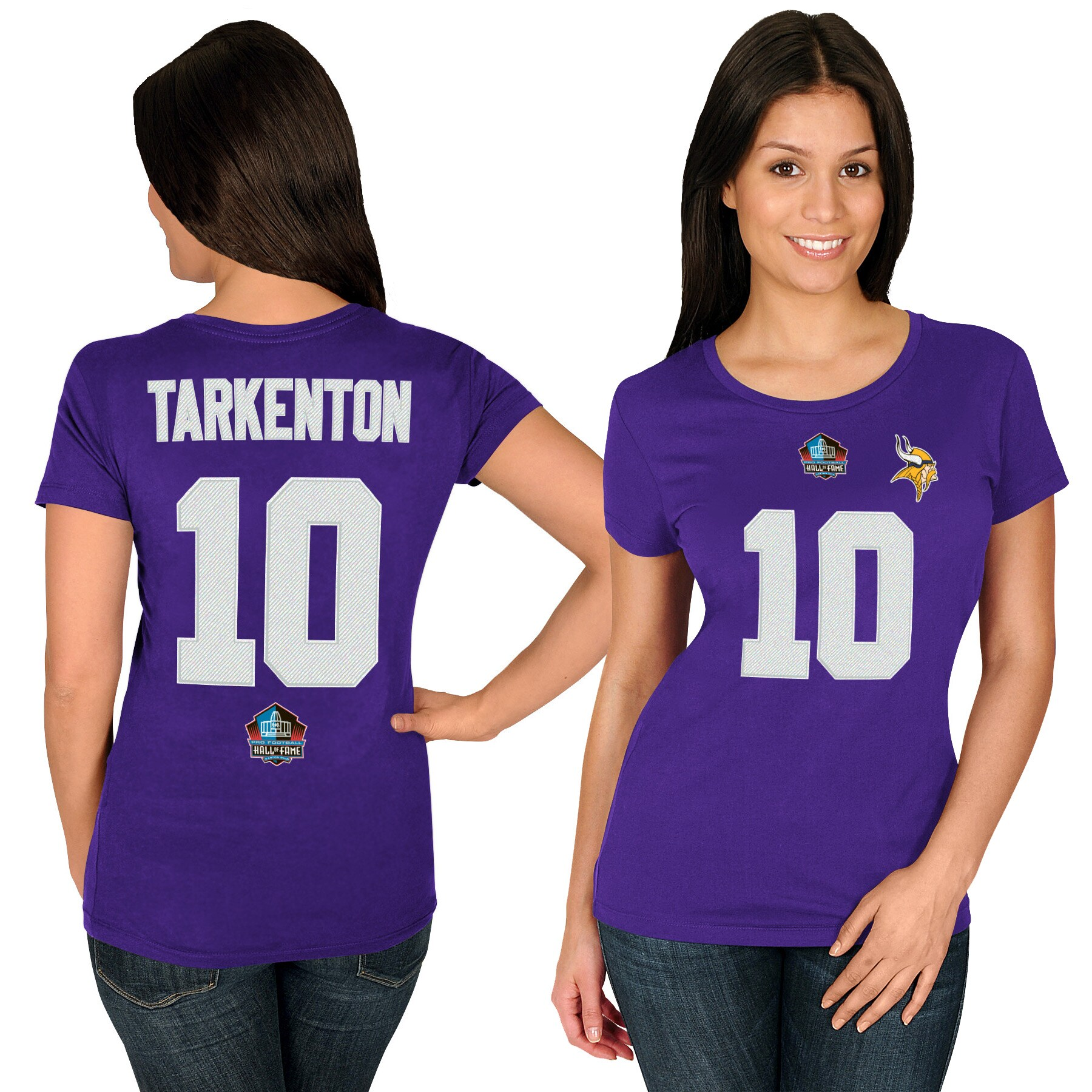 Fran Tarkenton Minnesota Vikings Majestic Women's Hall of Fame Fair Catch Name & Number T-Shirt - Purple