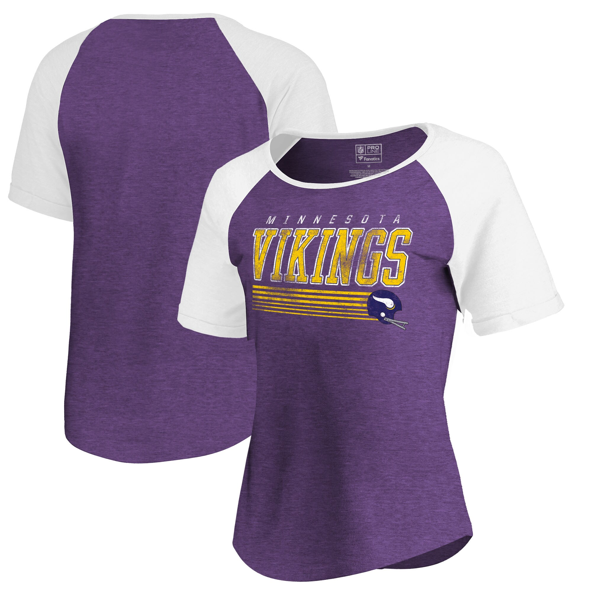 Minnesota Vikings NFL Pro Line by Fanatics Branded Women's Throwback Collection Fast Pass Tri-Blend T-Shirt - Purple