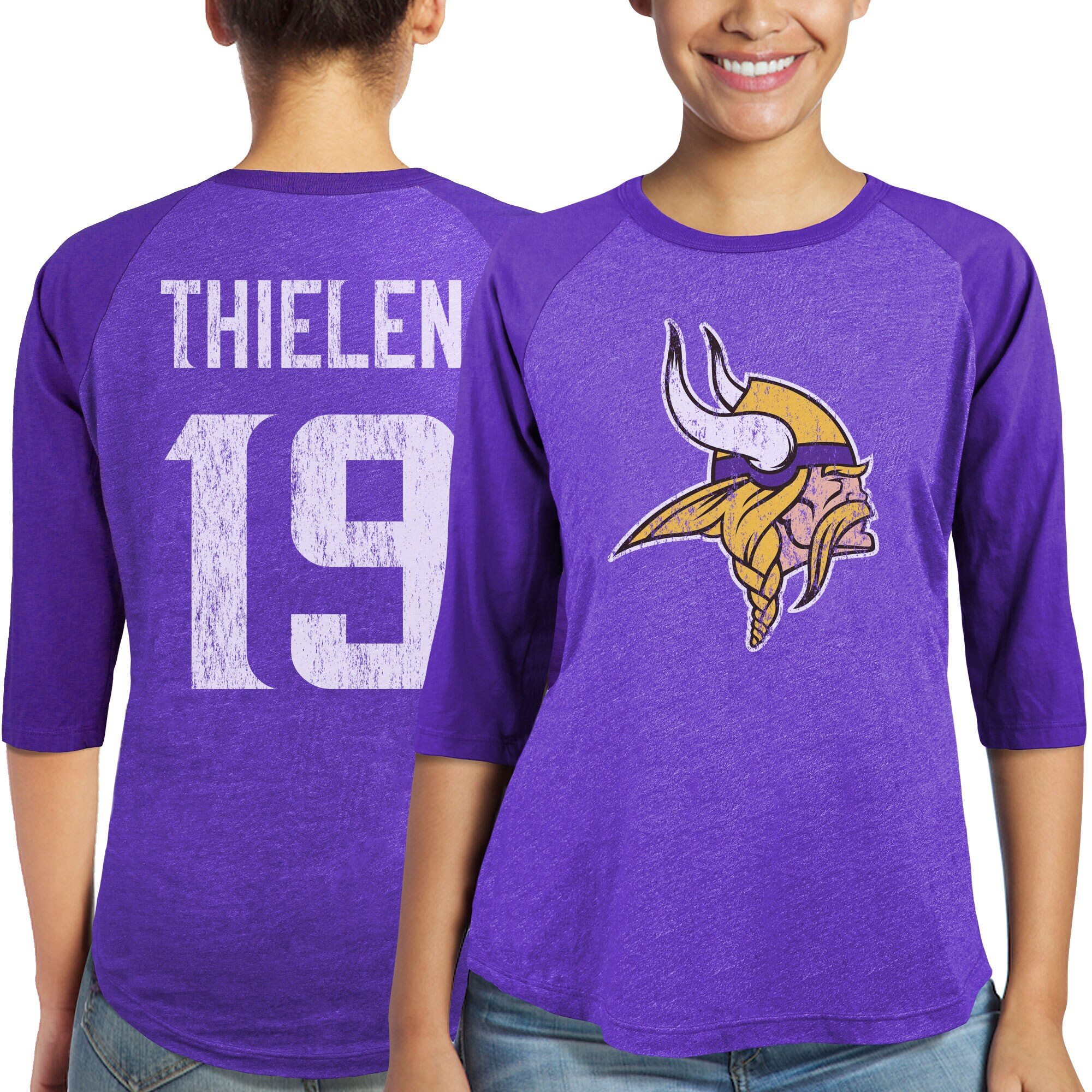 Adam Thielen Minnesota Vikings Majestic Women's Player Name & Number Tri-Blend 3/4-Sleeve Raglan T-Shirt - Purple