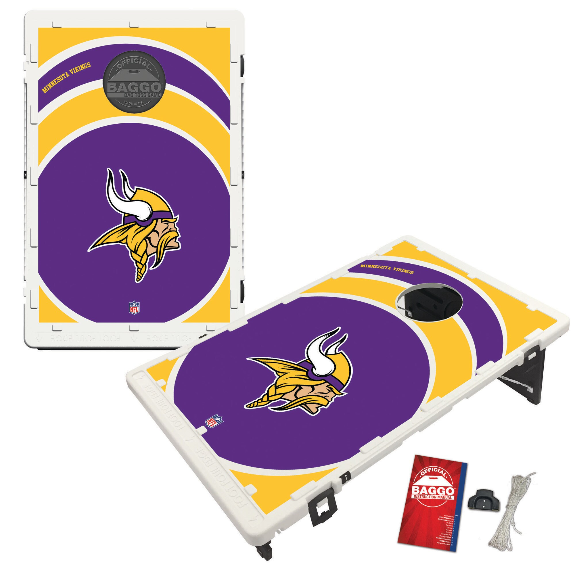 Minnesota Vikings 2' x 3' BAGGO Vortex Cornhole Board Tailgate Toss Set