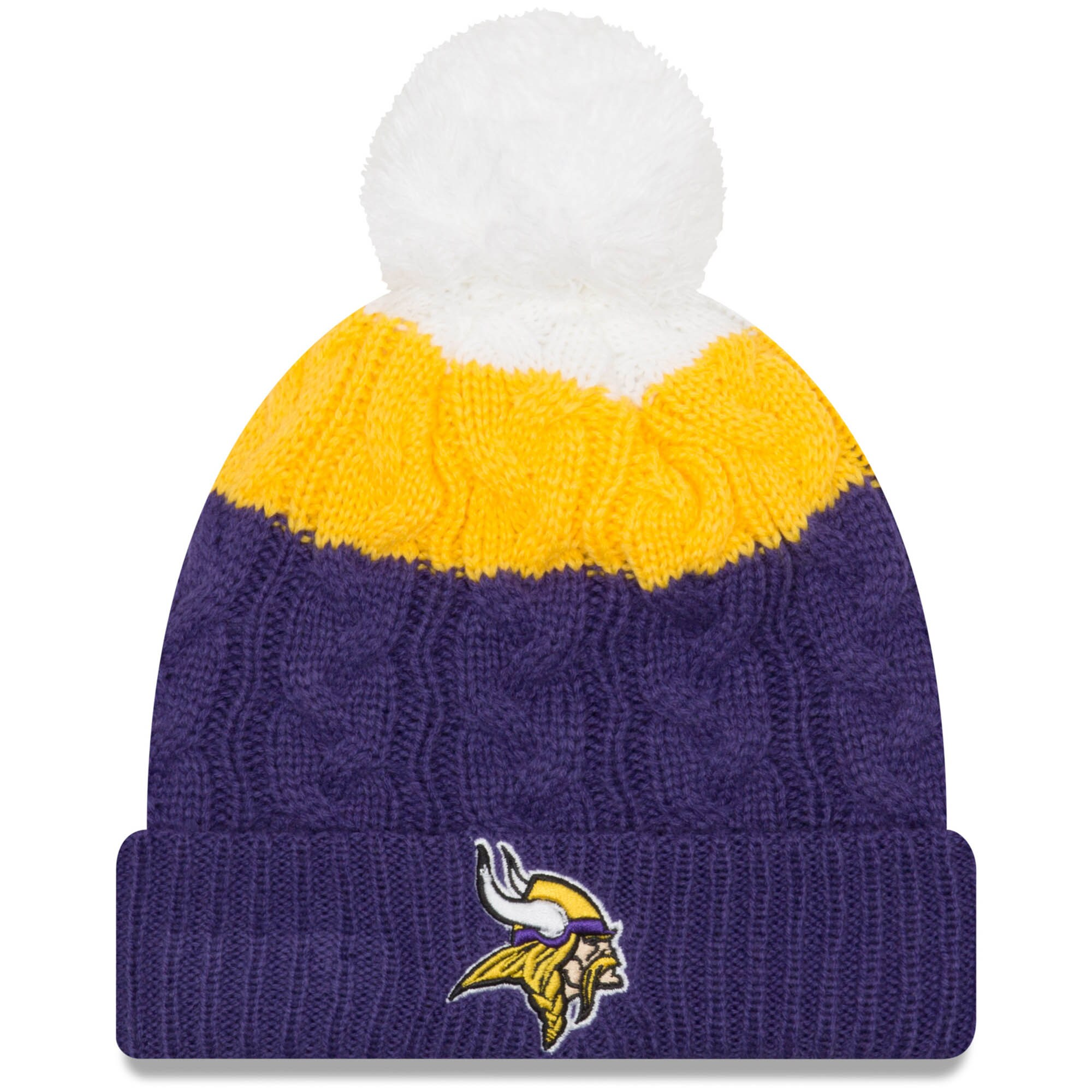 Minnesota Vikings New Era Women's Layered Up 2 Cuffed Knit Hat with Pom - White/Purple
