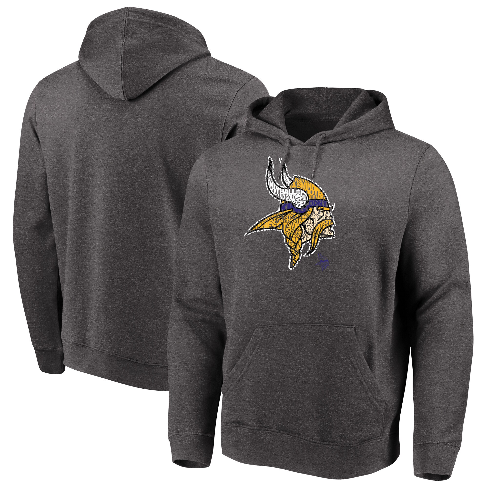Minnesota Vikings Majestic Big & Tall Line of Scrimmage Pullover Hoodie - Heathered Charcoal
