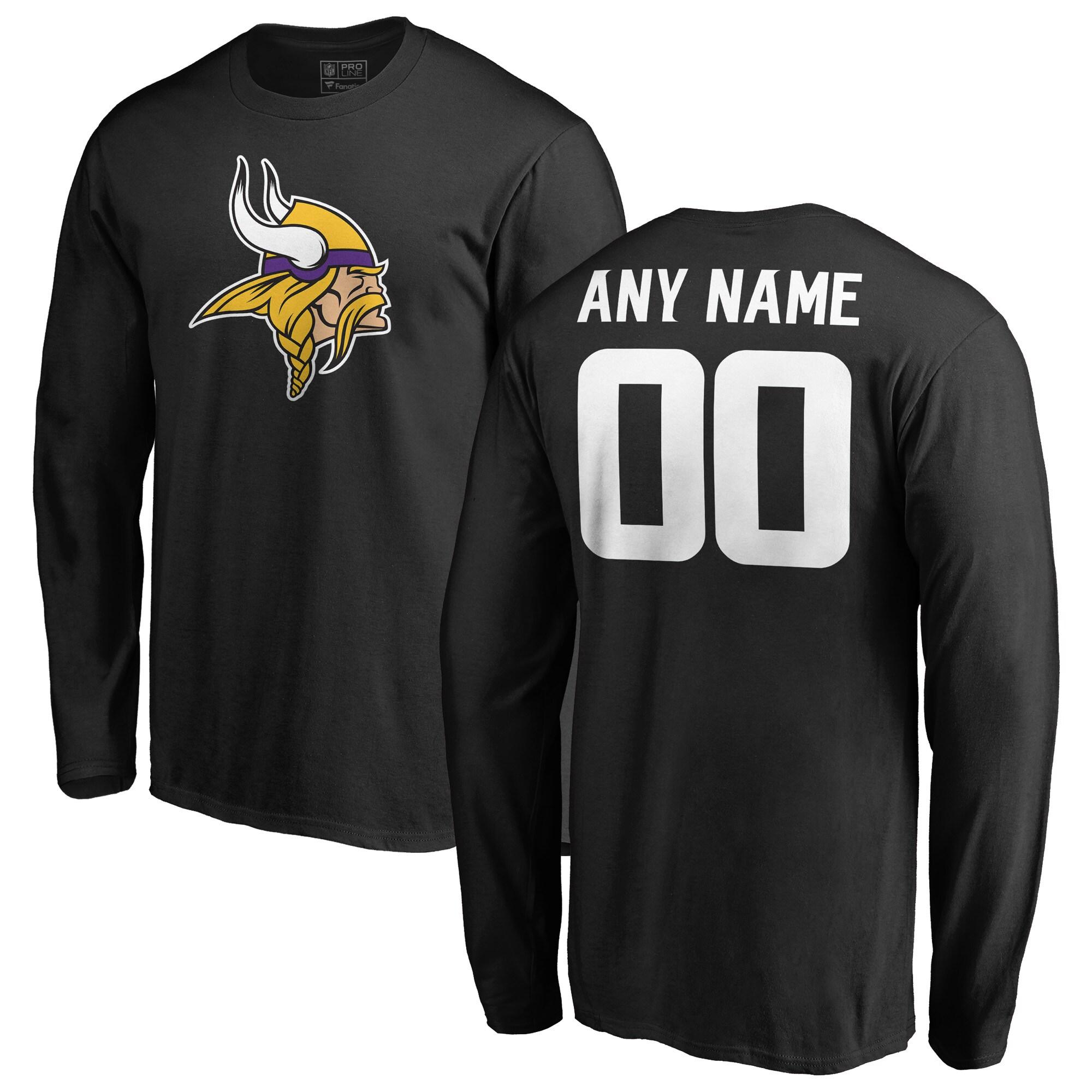 Minnesota Vikings NFL Pro Line Personalized Name & Number Logo Long Sleeve T-Shirt - Black