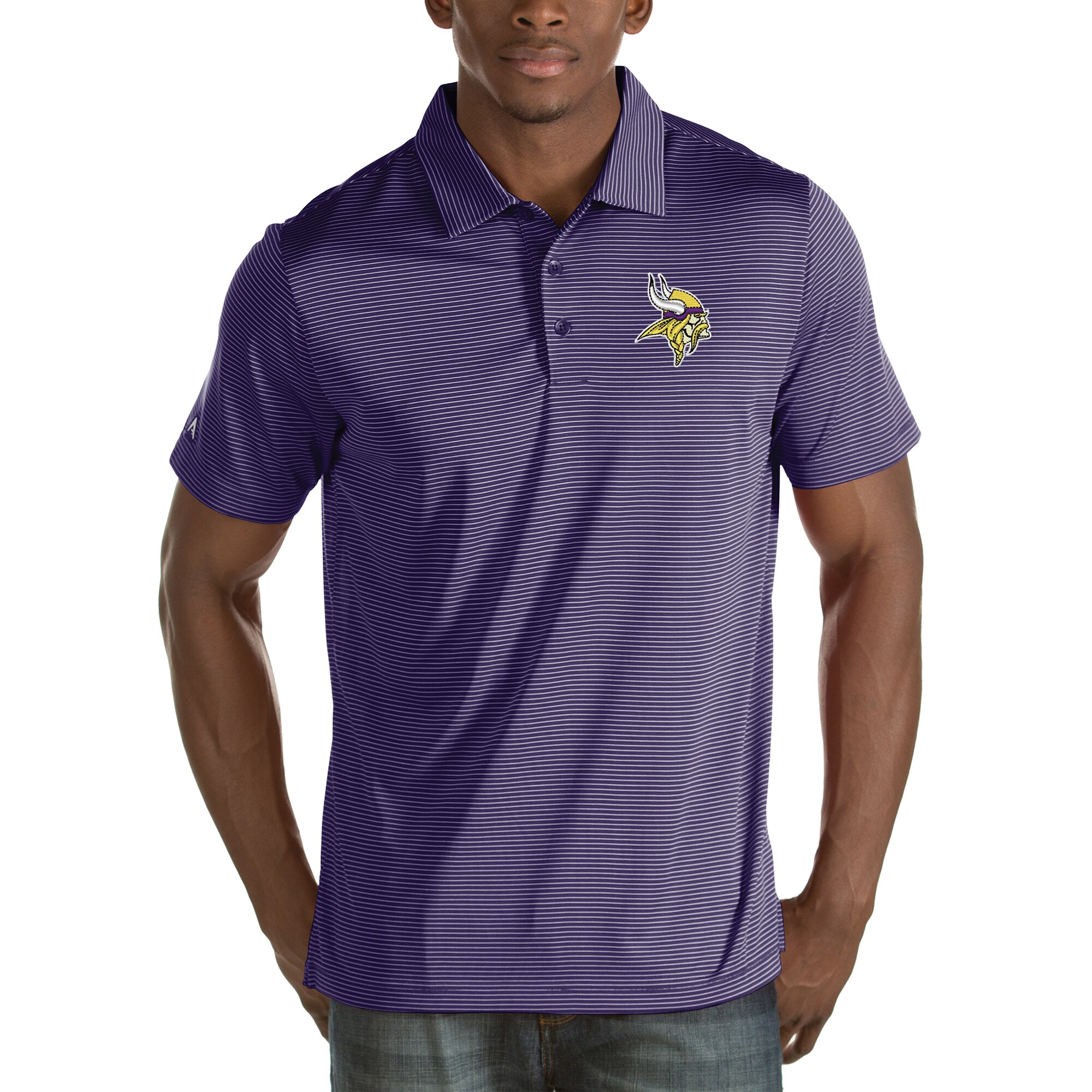 Minnesota Vikings Antigua Quest Stripe Polo - Purple