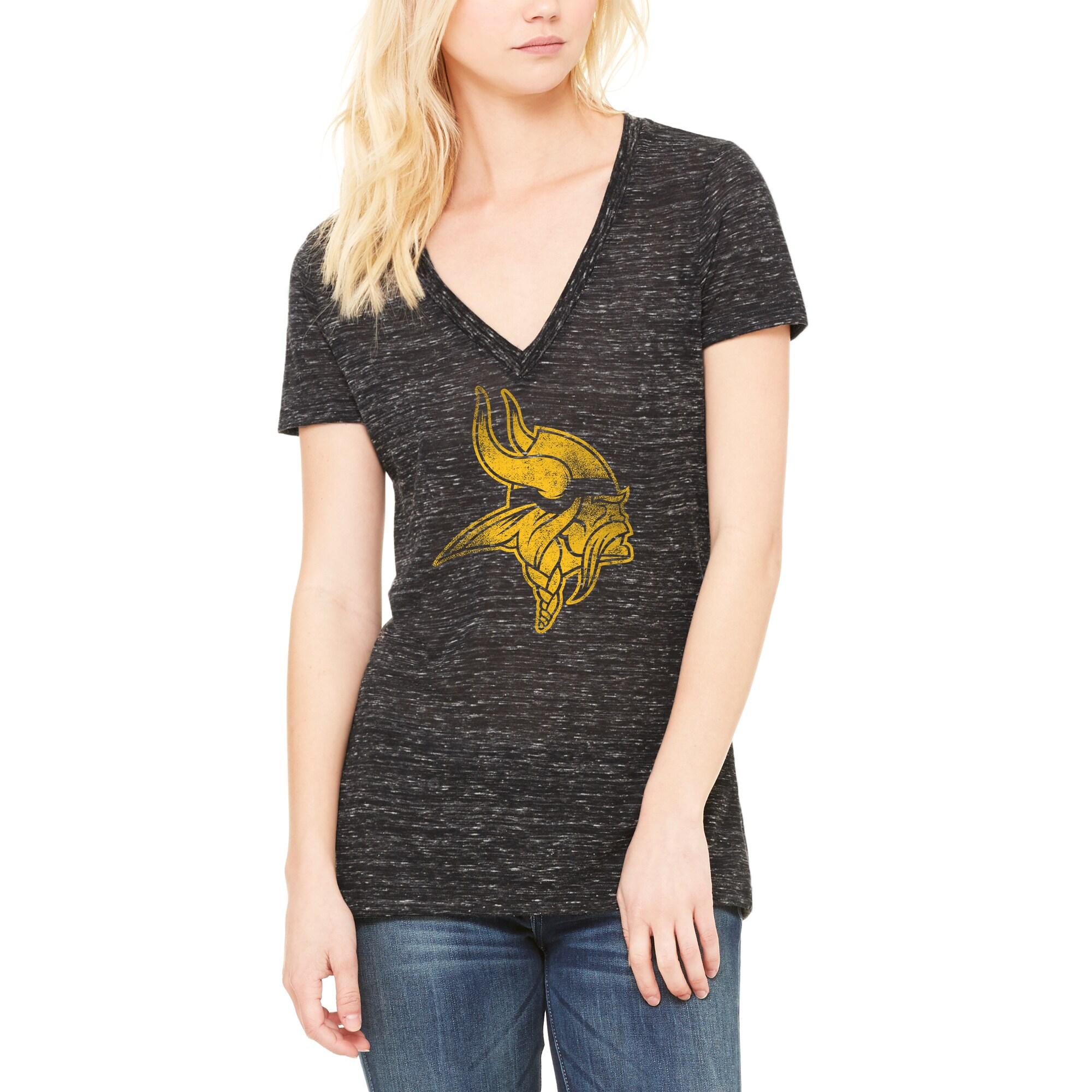 Minnesota Vikings Let Loose by RNL Women's Distressed Primary Logo T-Shirt - Black Marble